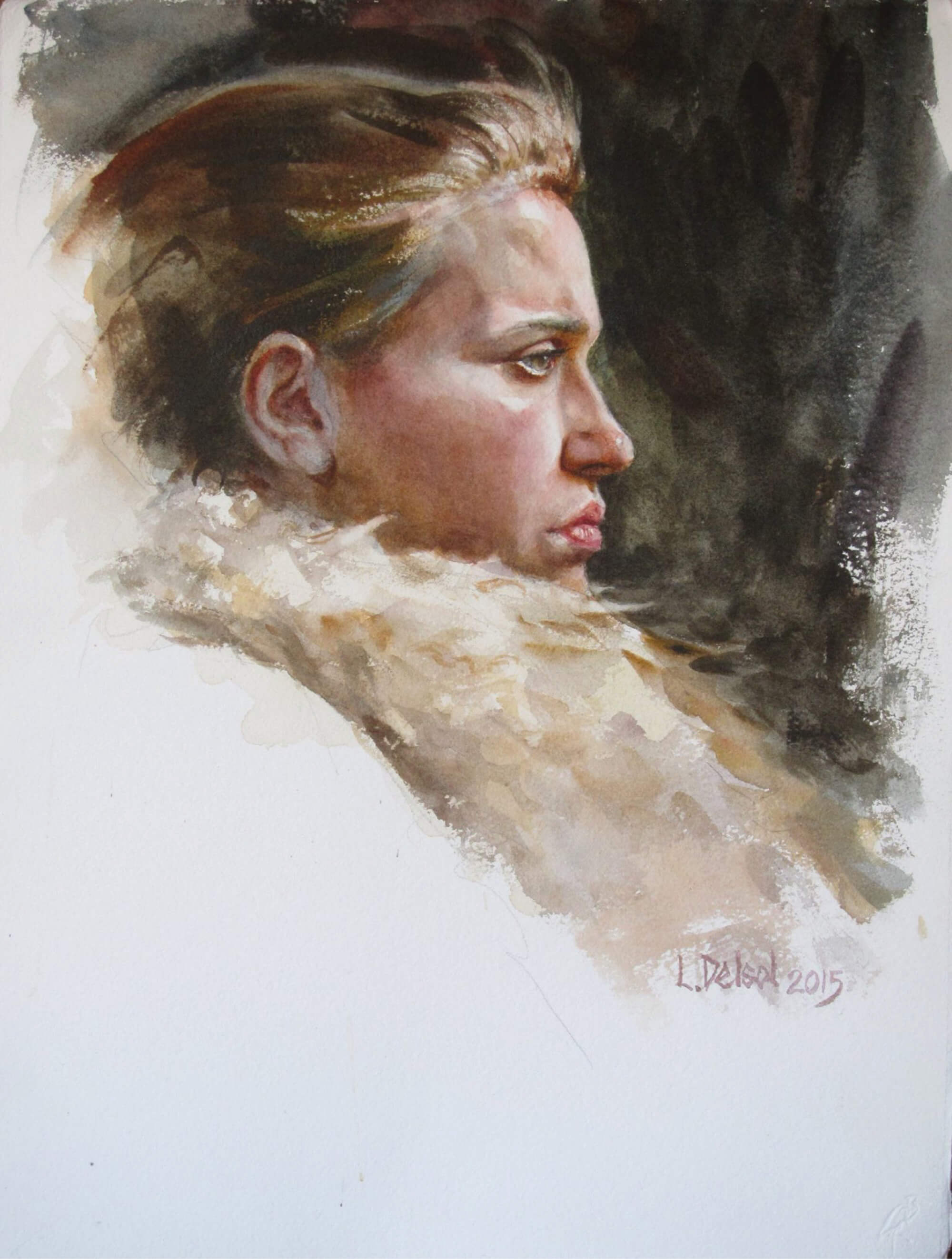 Watercolor profile portrait of a young woman with hair pulled back wearing a fur collar