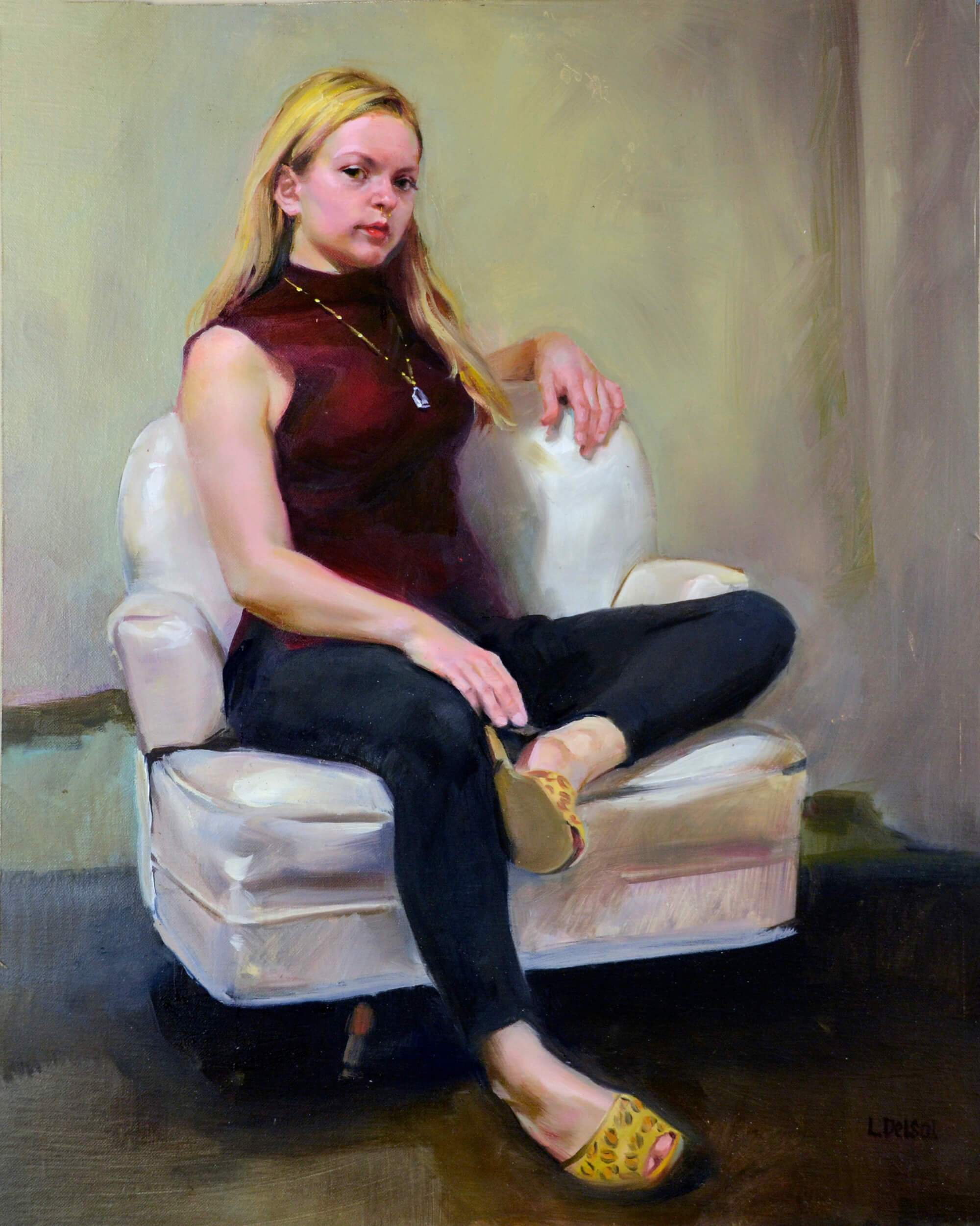 Figurative oil portrait of a young woman with blonde hair wearing a burgundy colored shirt. legging and leopard skin mules sitting in a white armchair