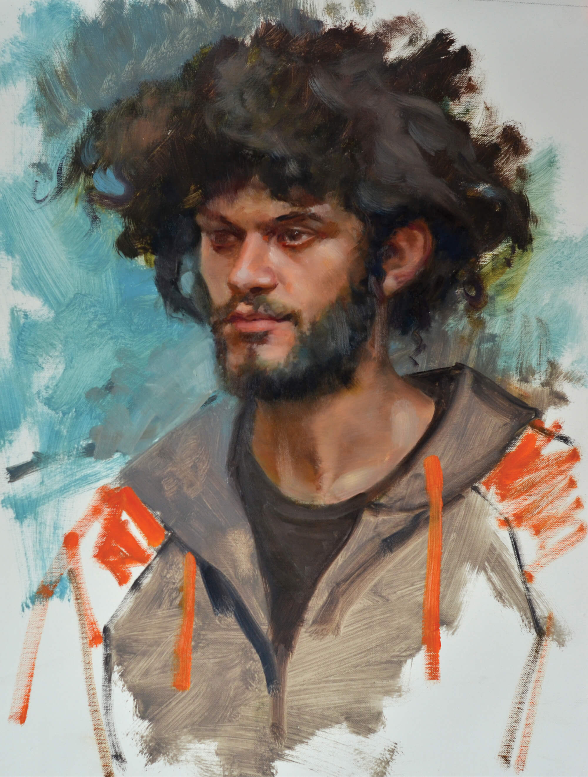 Oil portrait of a young man with free spirited afro-like hair, mustache and full beard wearing a gray hoody with orange ties and shoulders on a teal blue background