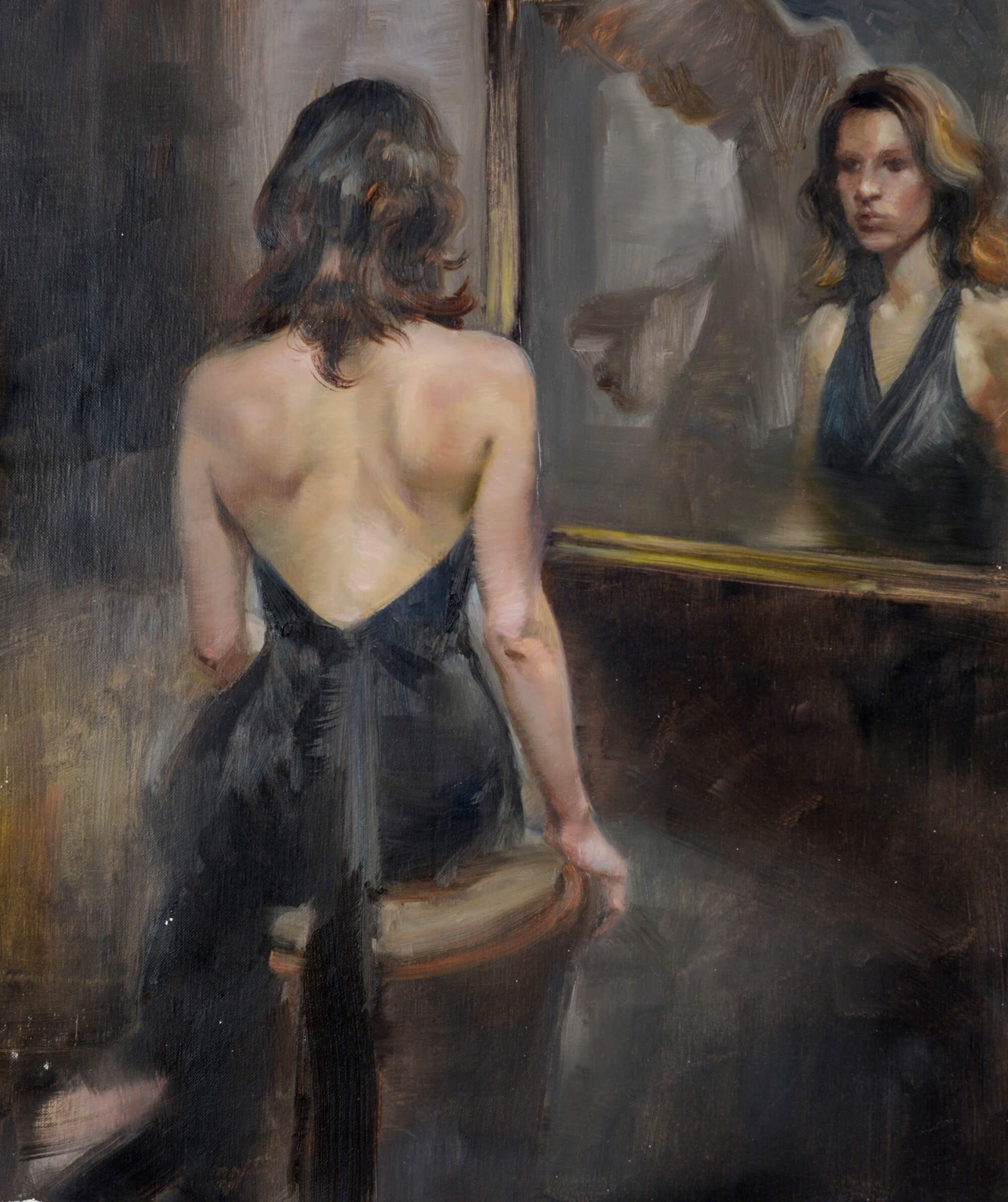Figurative oil painting and portrait of a young woman wearing a black halter dress seated in front of a mirror