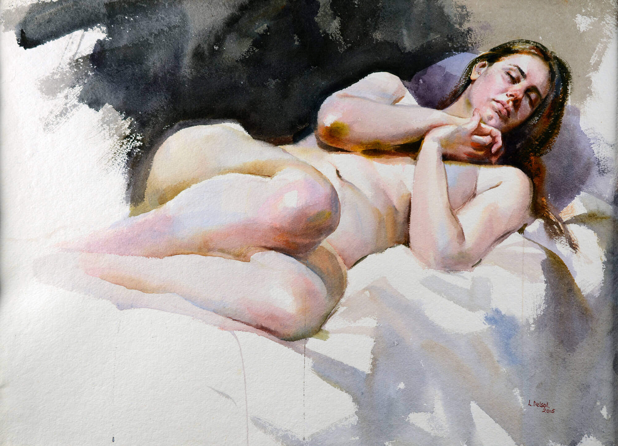 Figurative watercolor painting of a nude woman with hands clasped covering her chest with her head on a purple pillow
