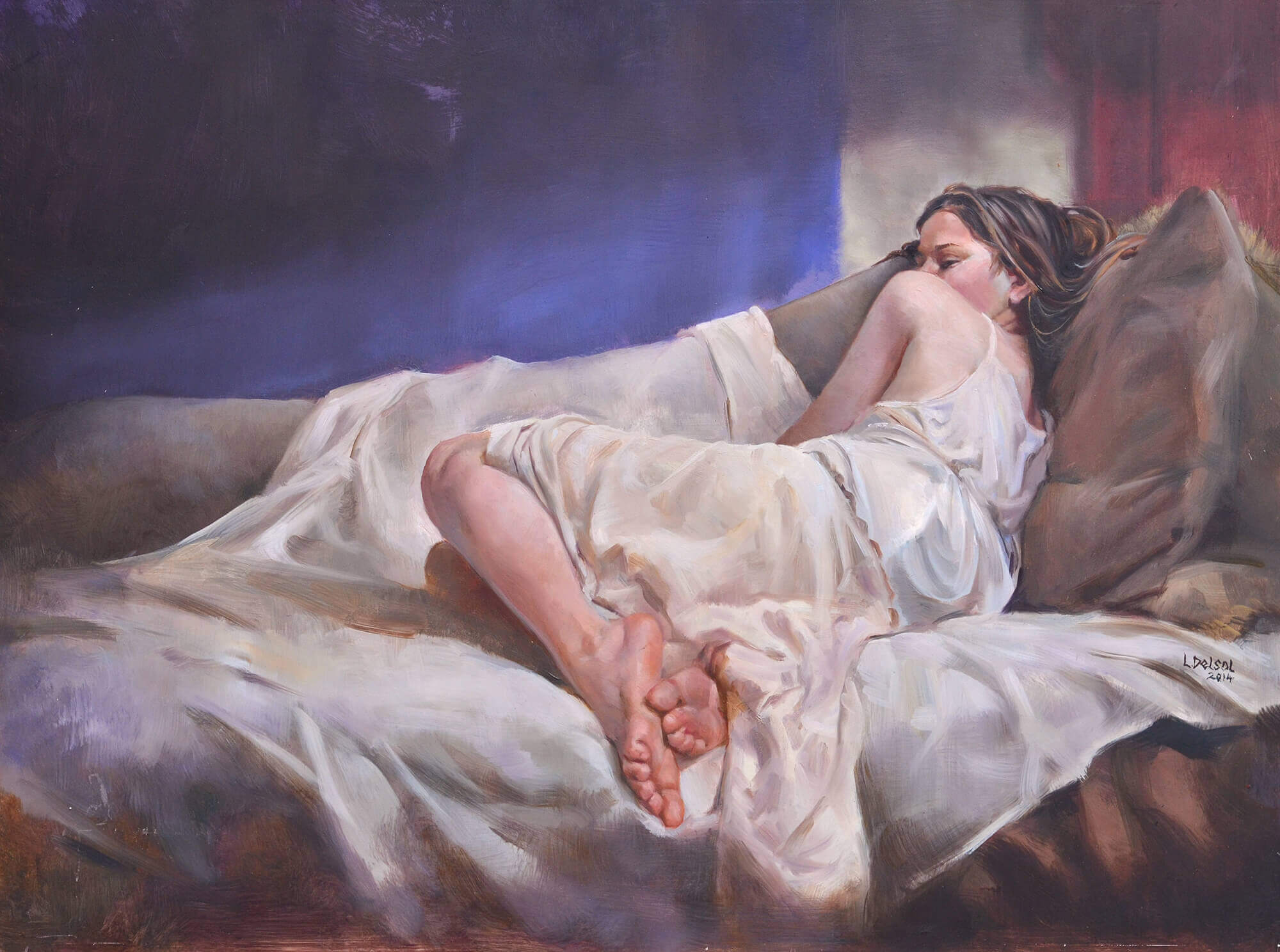 Figurative oil painting of a woman in a white slip laying on a fainting couch with her back to the viewer with a purple wall and red door