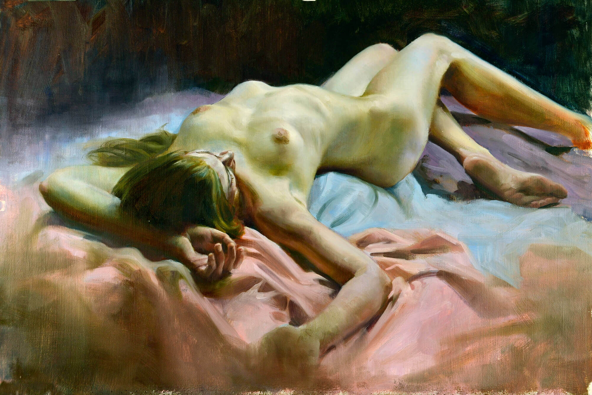 Figurative oil painting of a nude laying upon pink and blue fabric
