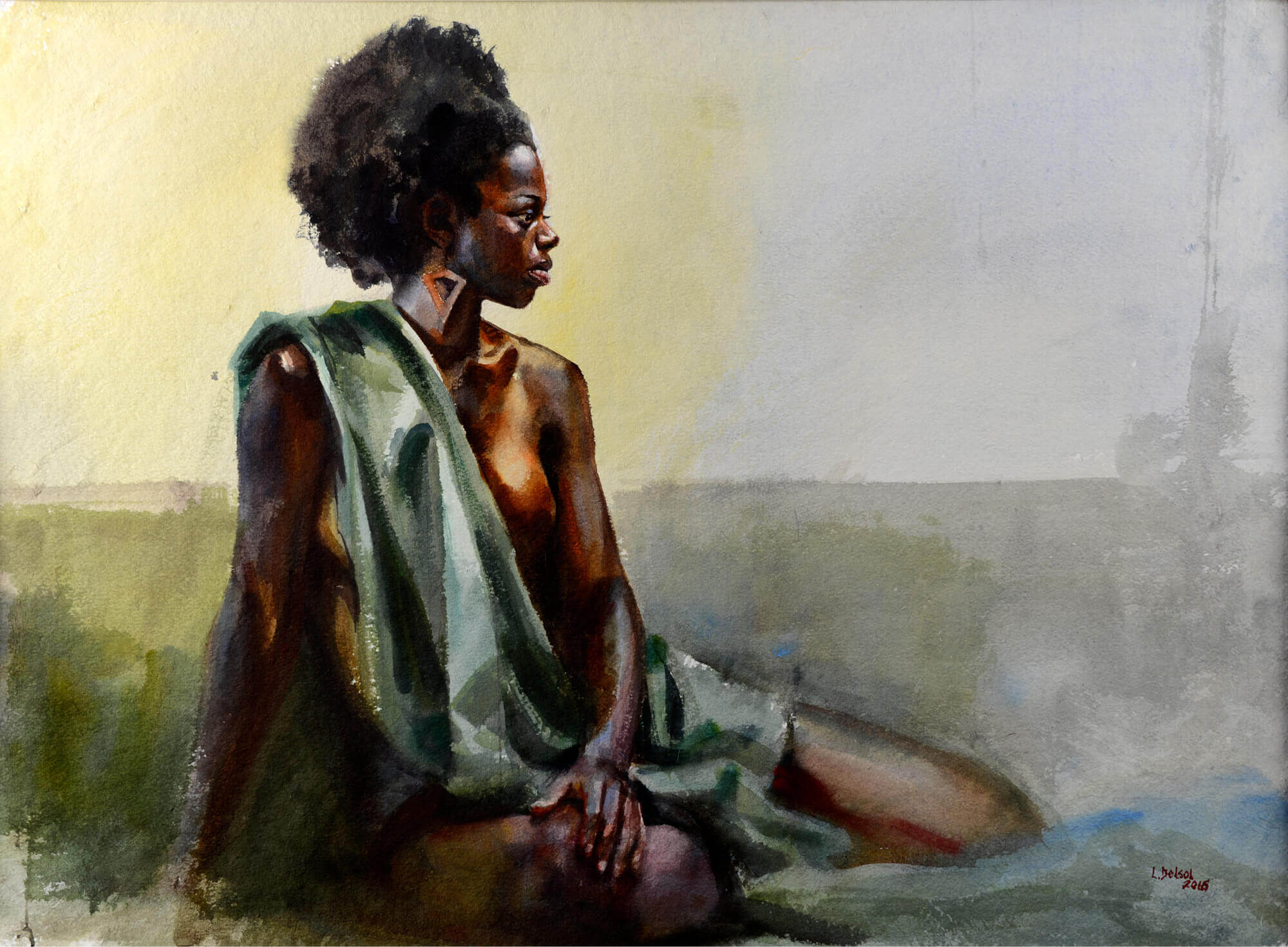 Figurative watercolor of a young woman draped in green fabric