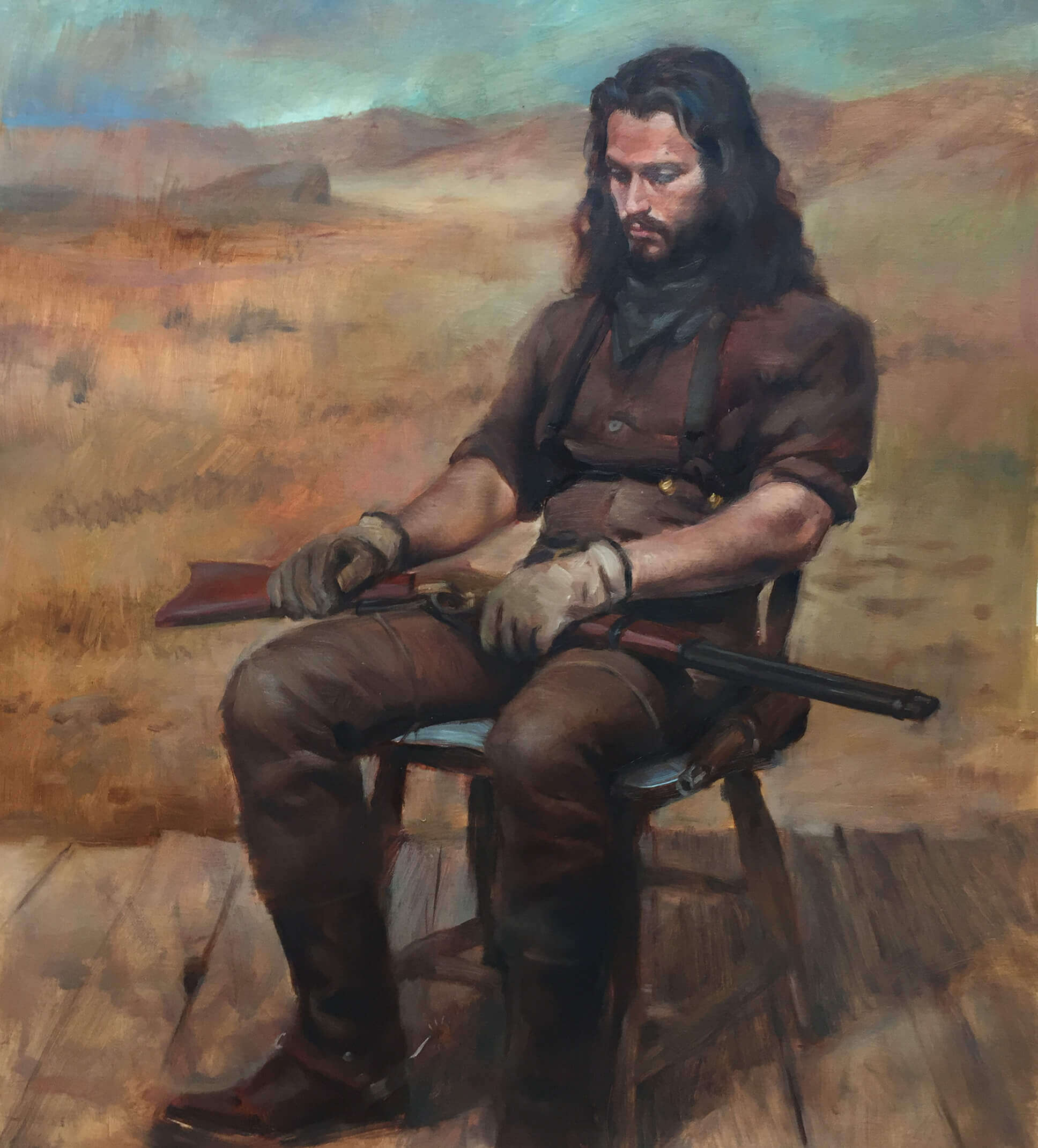 Oil painting of a contemplative man dressed in historical western clothing sitting in a chair with a rifle resting on his lap