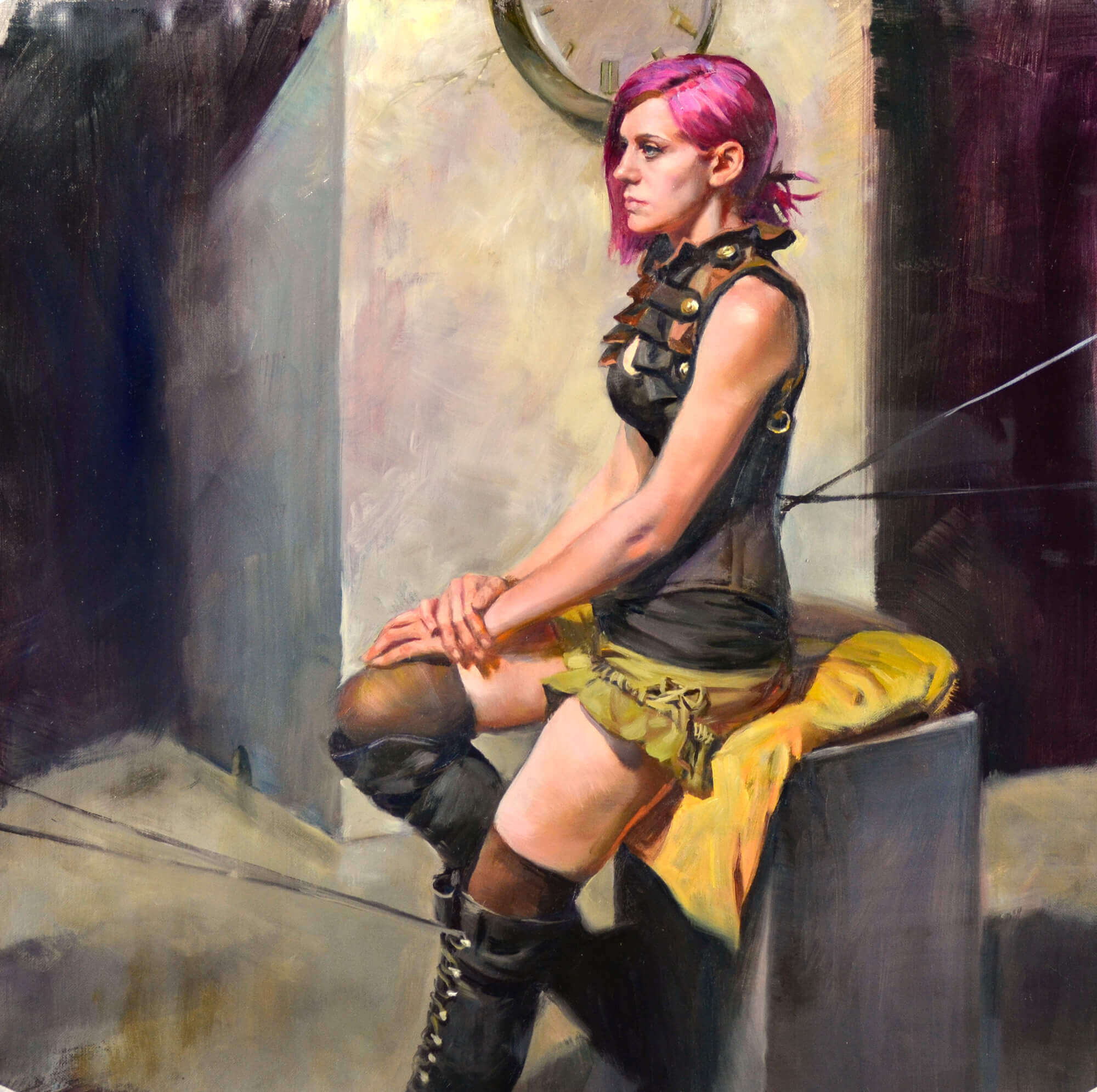 Figurative oil painting of a young woman with pink hair wearing a steampunk outfit with a clock in the background