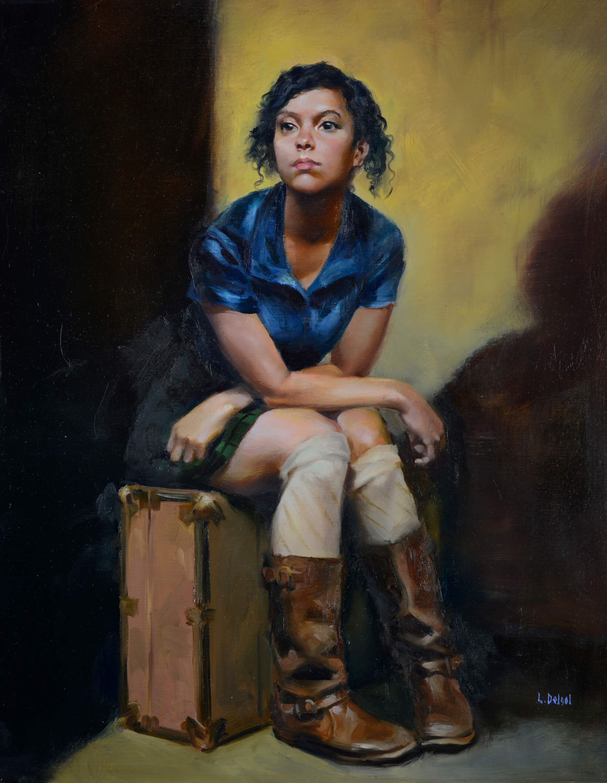 Figurative oil portrait of a young woman wearing a blue dress knee socks and boots sitting on a suitcase