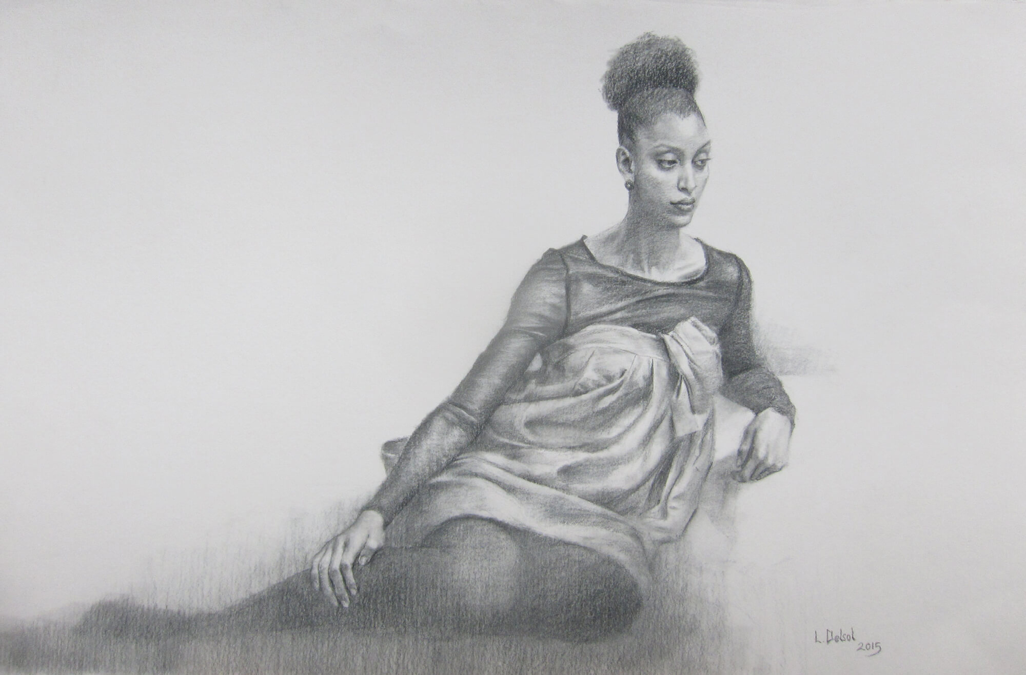 Figurative pencil drawing of a young woman with her hair in a bun