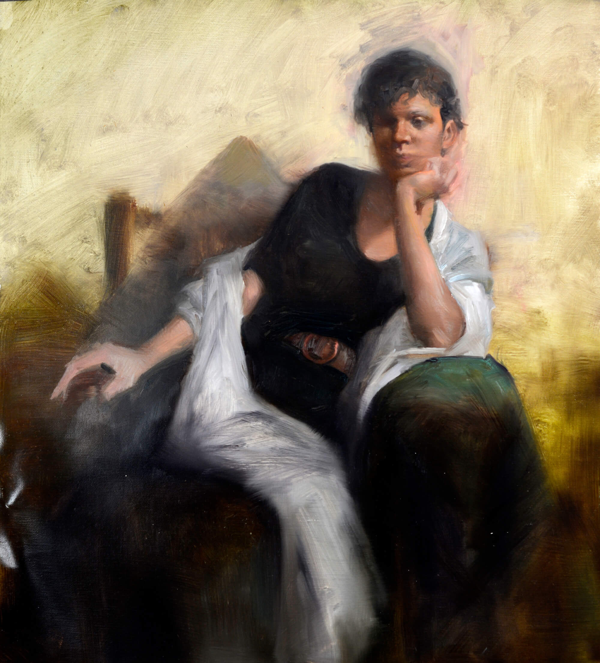 Figurative oil portrait of a woman wearing a black dress with a white scarf sitting on a green armchair