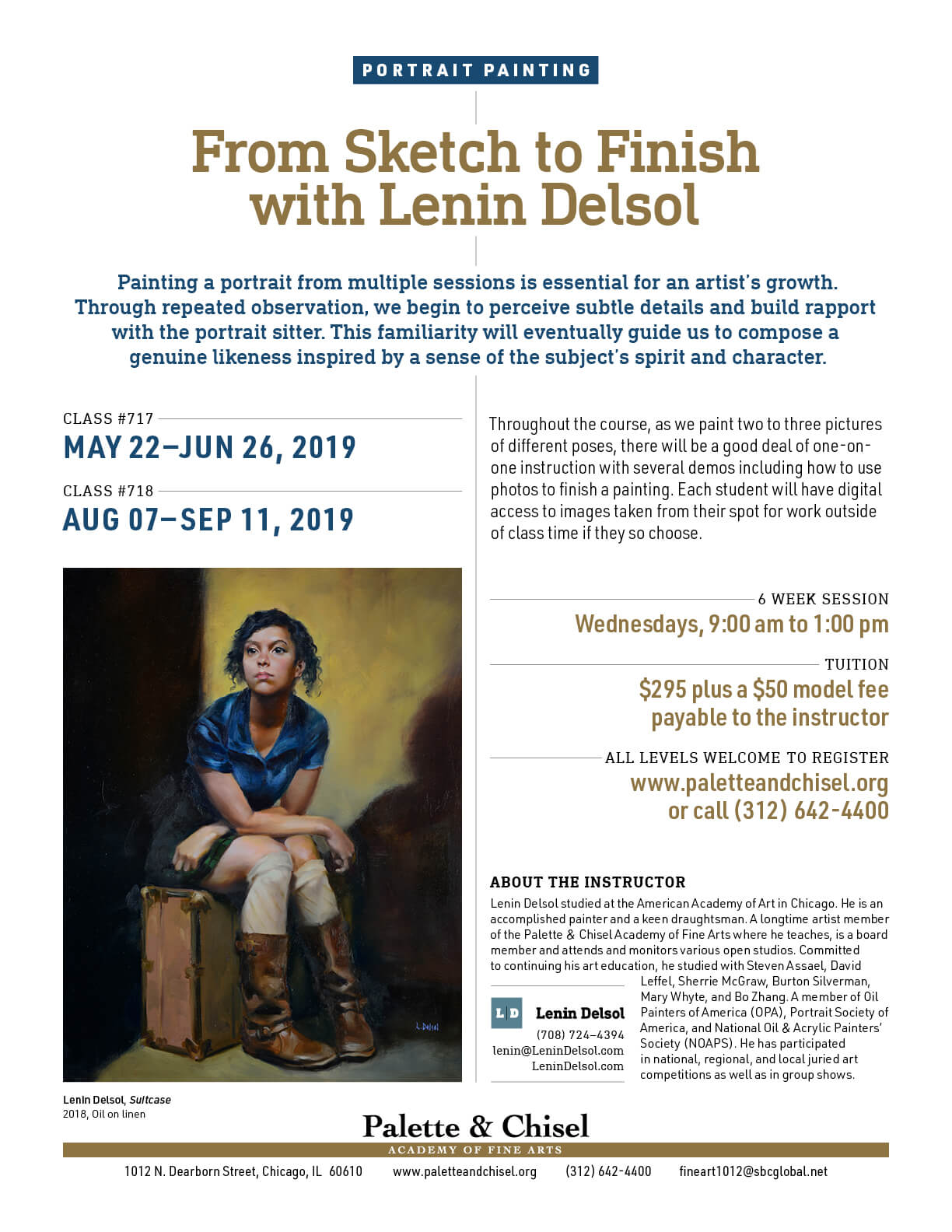 class flyer for protrait painting class at the palette and chisel spring and summer 2019