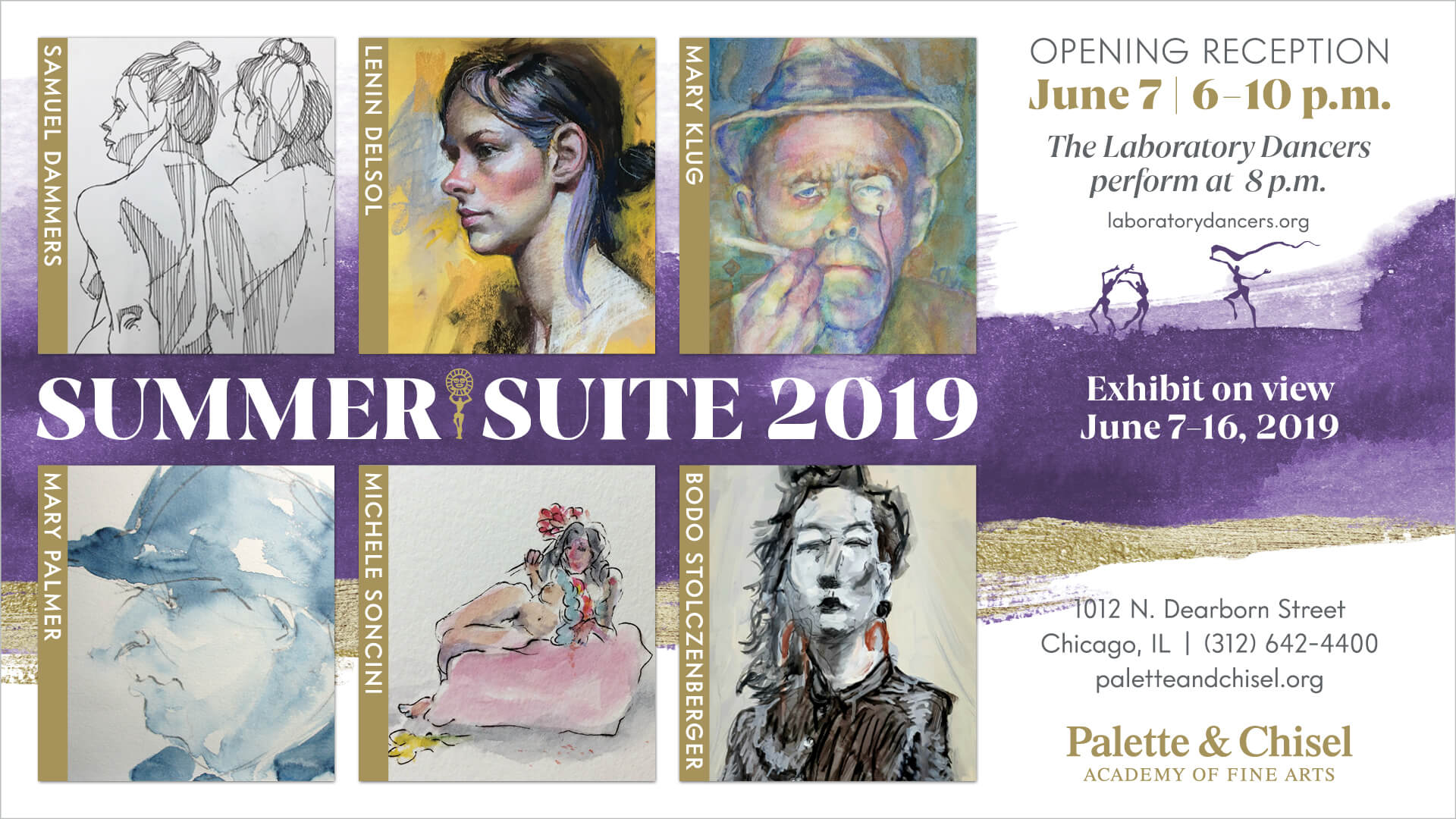 Summer Suite 2019 Show purple and gold card featuring art by 6 artists in the show