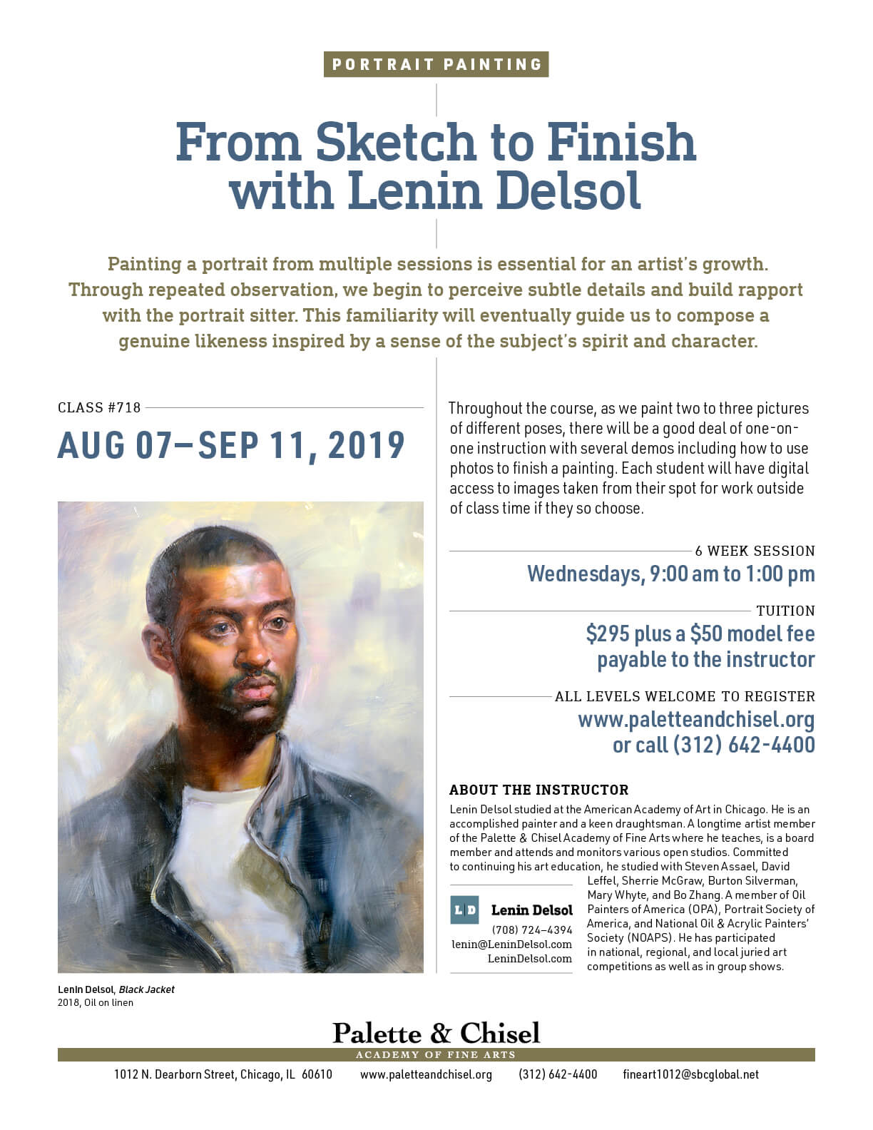 Portrait painting class flyer with an oil portrait of a young man wearing a black jacket by artist Lenin Delsol