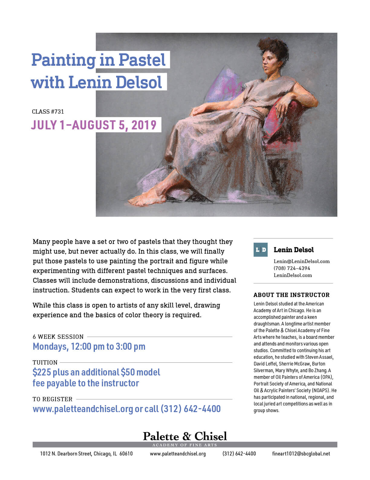 Pastel Painting class flyer with class description, dates, cost and pastel painting of a woman in repose