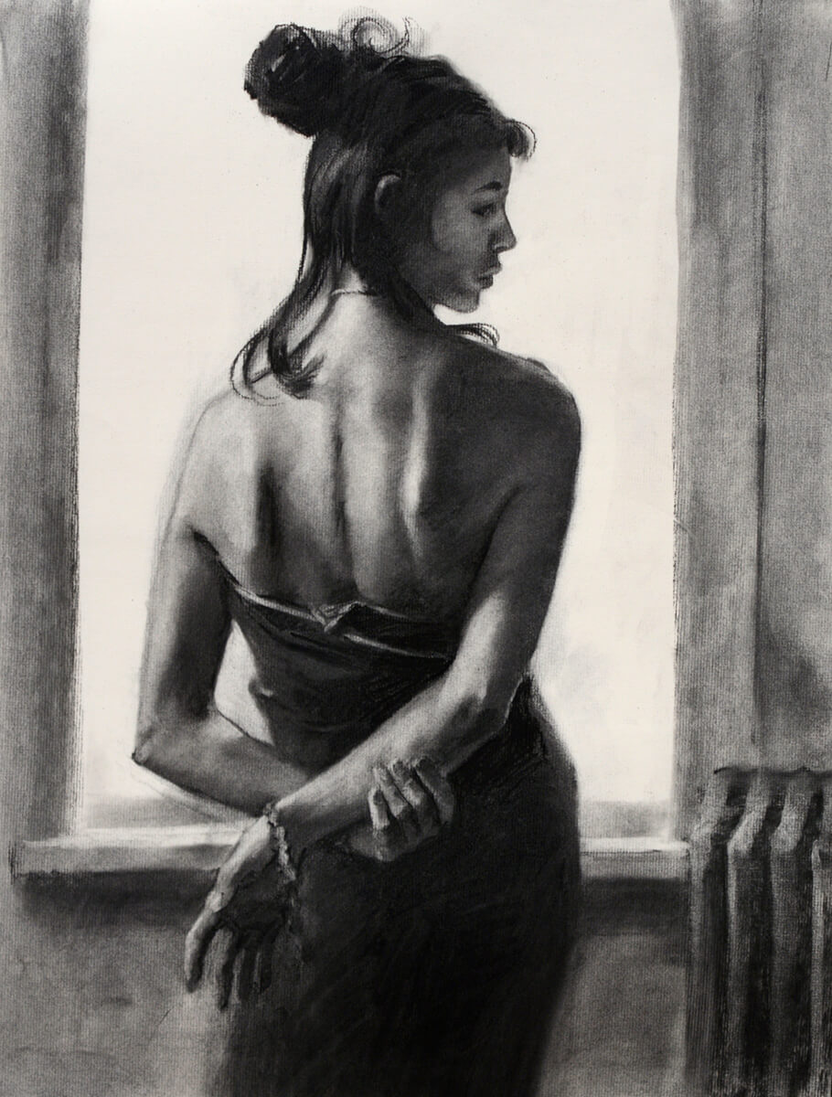 Figurative Charcoal drawing by Lenin Delsol