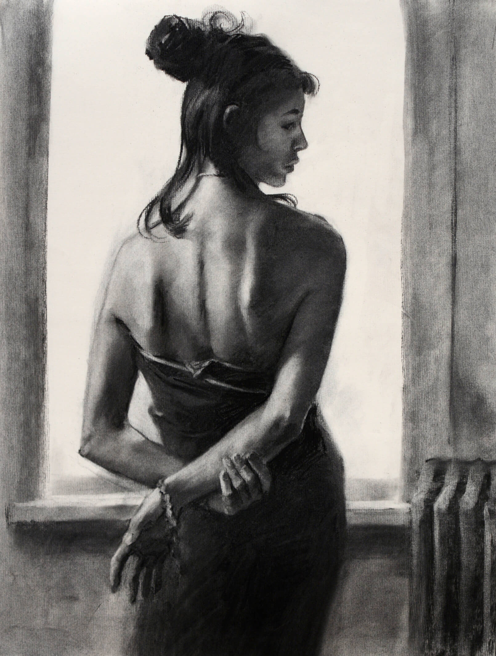 Realistic charcoal portrait of a woman facing a window holding her right arm behind her gazing in profile to the right of us