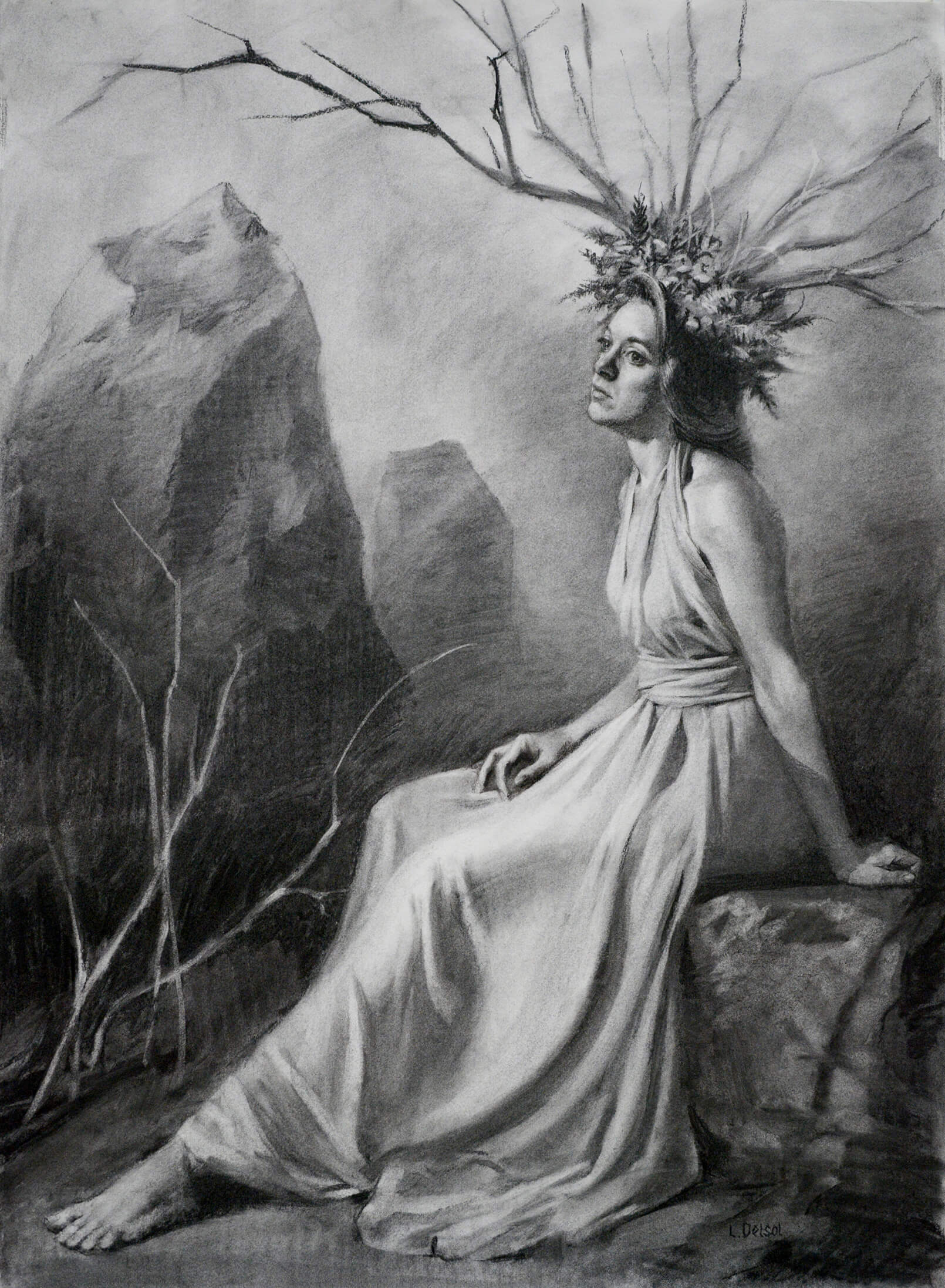Full figure charcoal portrait of a woman with a stick and floral head dress sitting on a stone near a stone circle