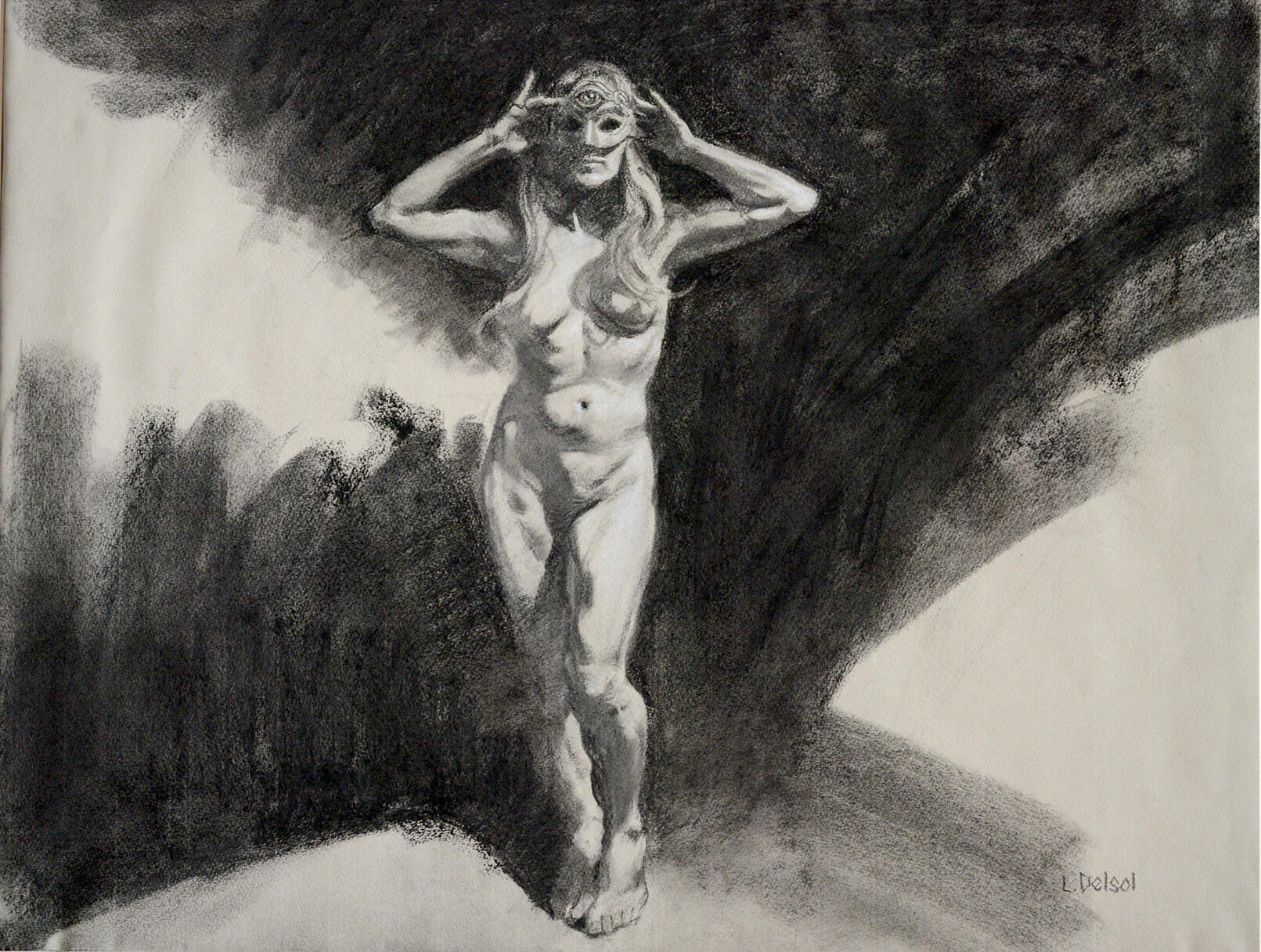 Realistic full figure charcoal drawing of a woman wearing only a masquerade mask.