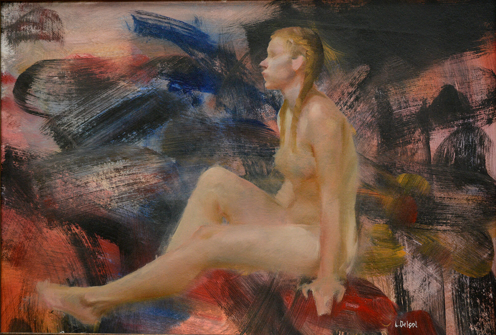Gestural figurative oil of a sitting nude woman in profile on a background of expressive and colorful brush strokes