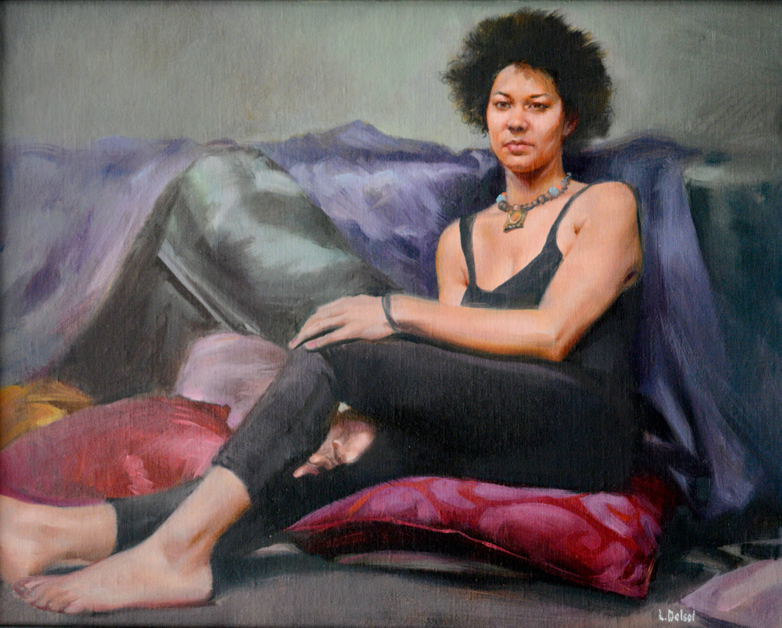 Realistic full figure oil portrait of a woman wearing black legging and sleeveless top sitting upon plum colored cushions gazing at us