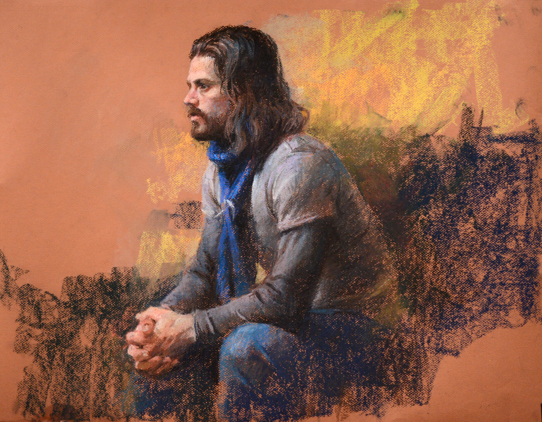 Realistic pastel portrait of seated man with long dark hair and beard in profile with clasped hands gazing to our left