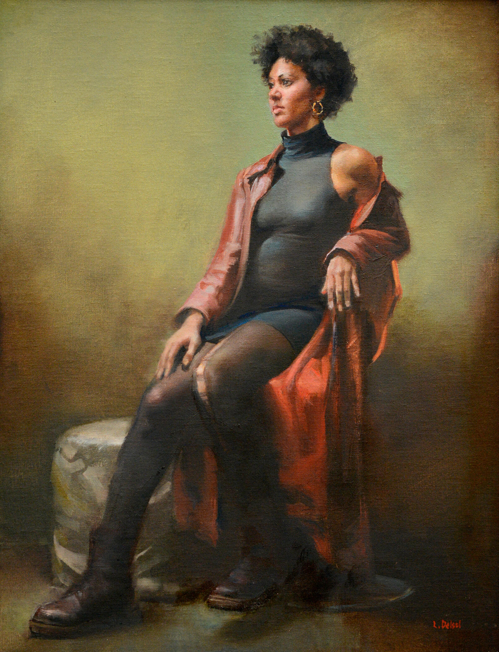 Realistic full figure oil portrait of woman sitting on a tall counter height chair gazing off to our left