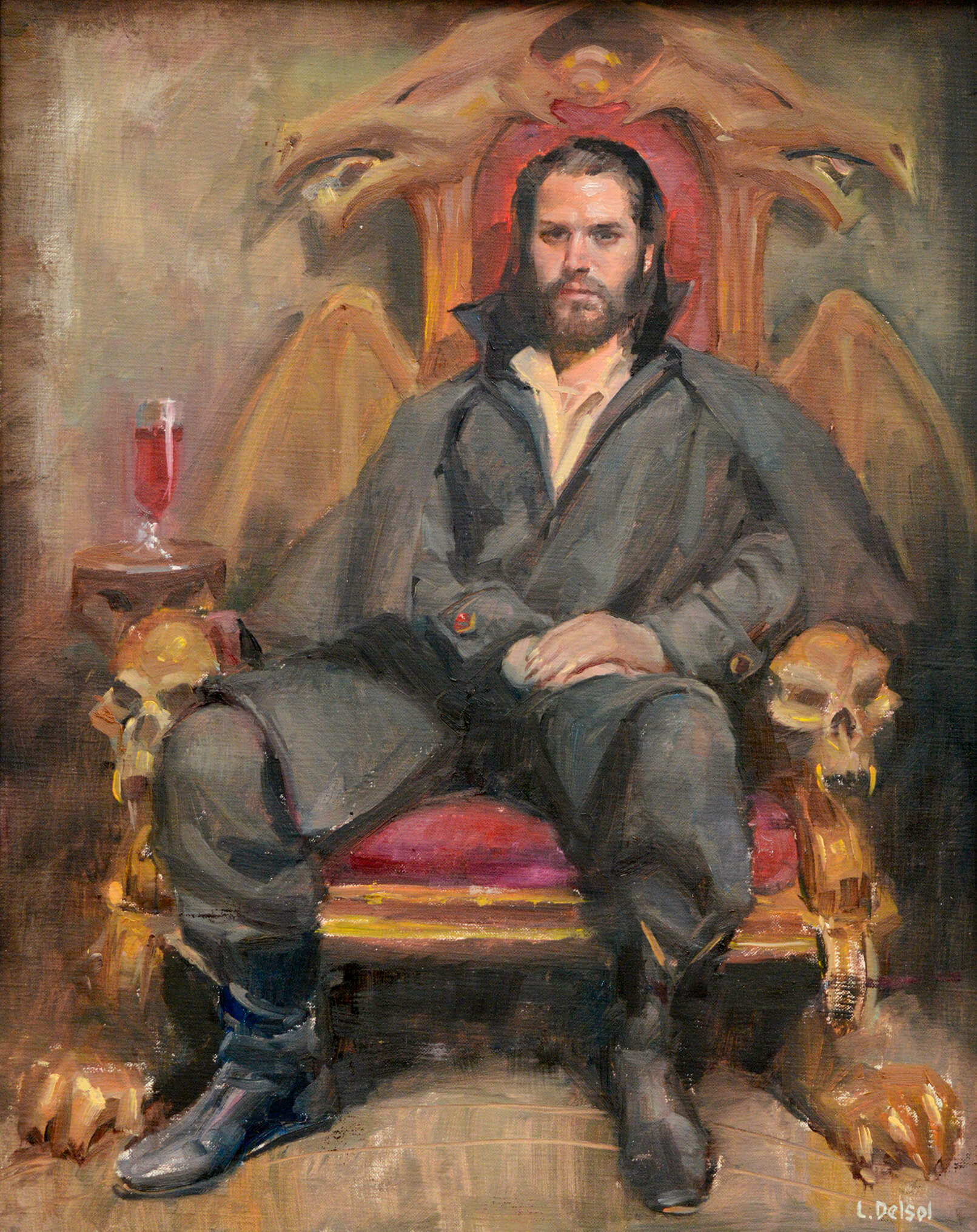 Realistic fantasy portrait of a dark haired bearded man in an ornate count Dracula inspired throne
