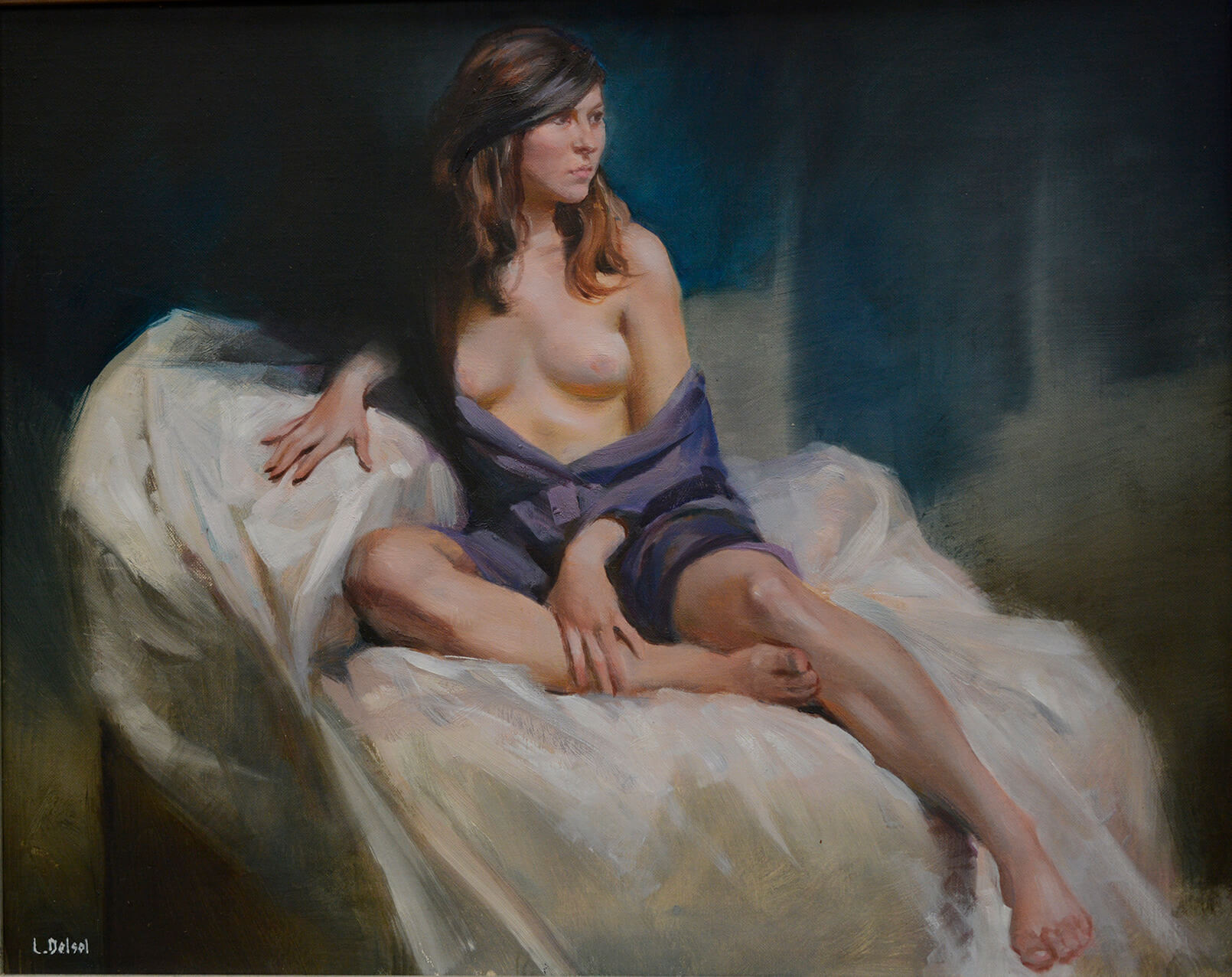 Realistic figurative oil painting of woman sitting on draped white fabric in purple robe with breasts exposed gazing to the right of us