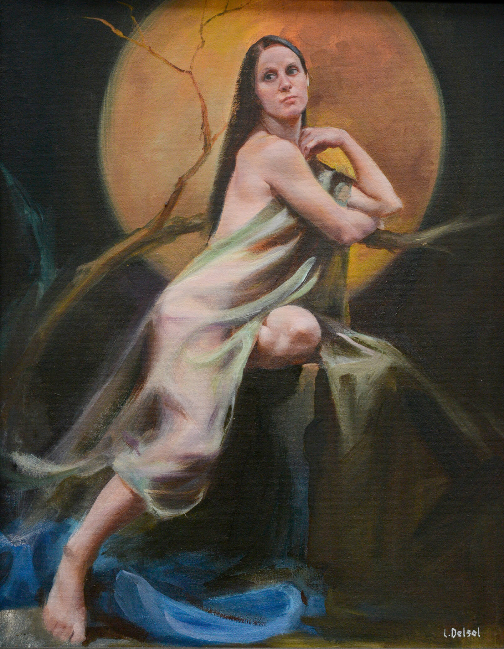 Realistic full figure oil painting of chiffon fabric draped woman leaning on a tree branch framed by a harvest moon