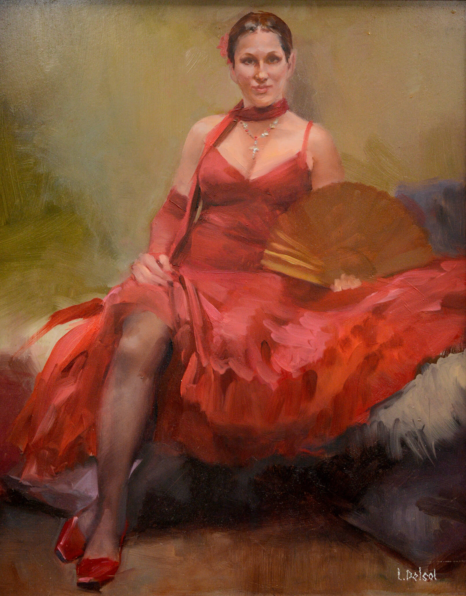 Realistic painting of a resting flamenco dancer in a red dress holding an open fan gazing at us