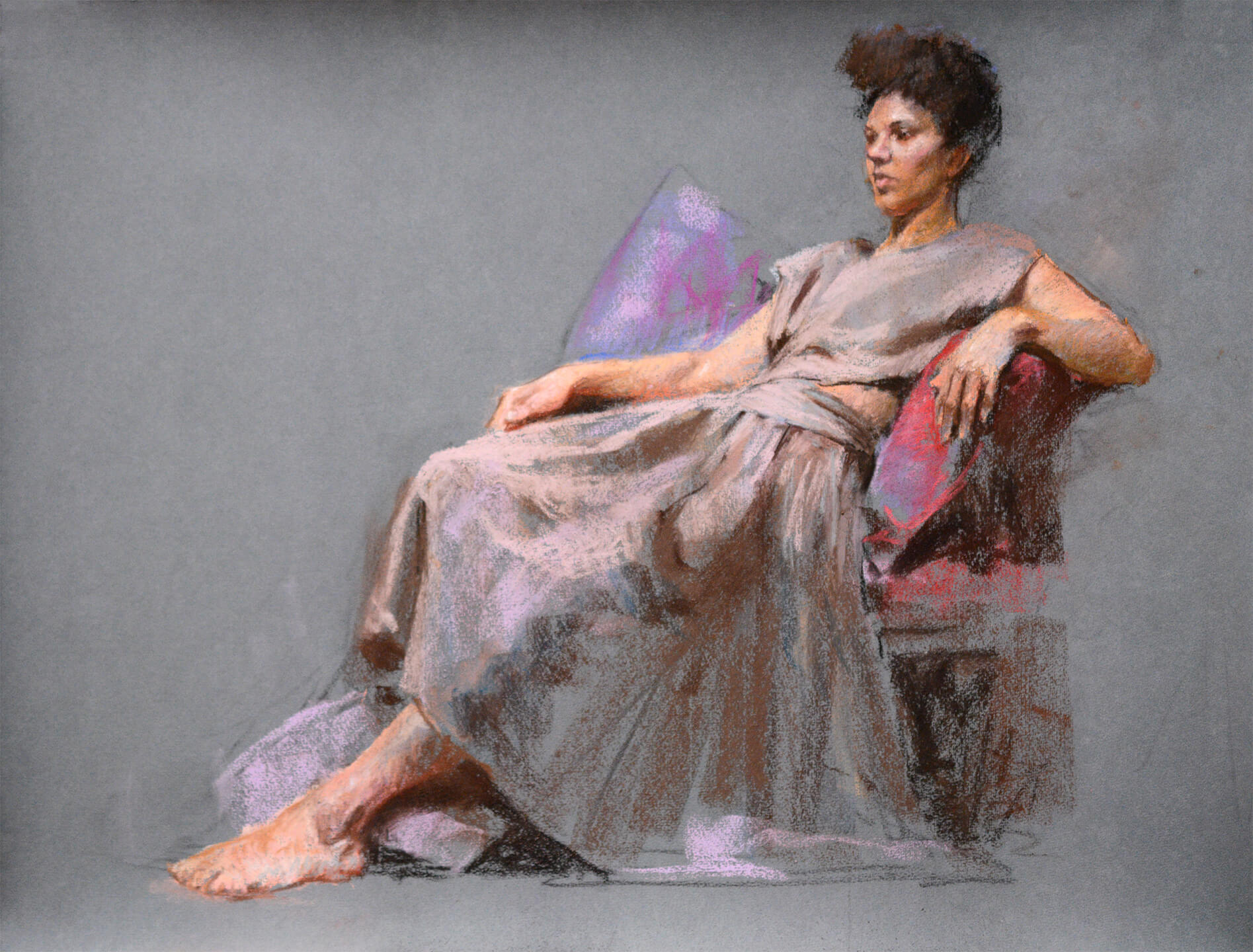 Realistic full figure pastel painting of seated woman gazing off to the left of us