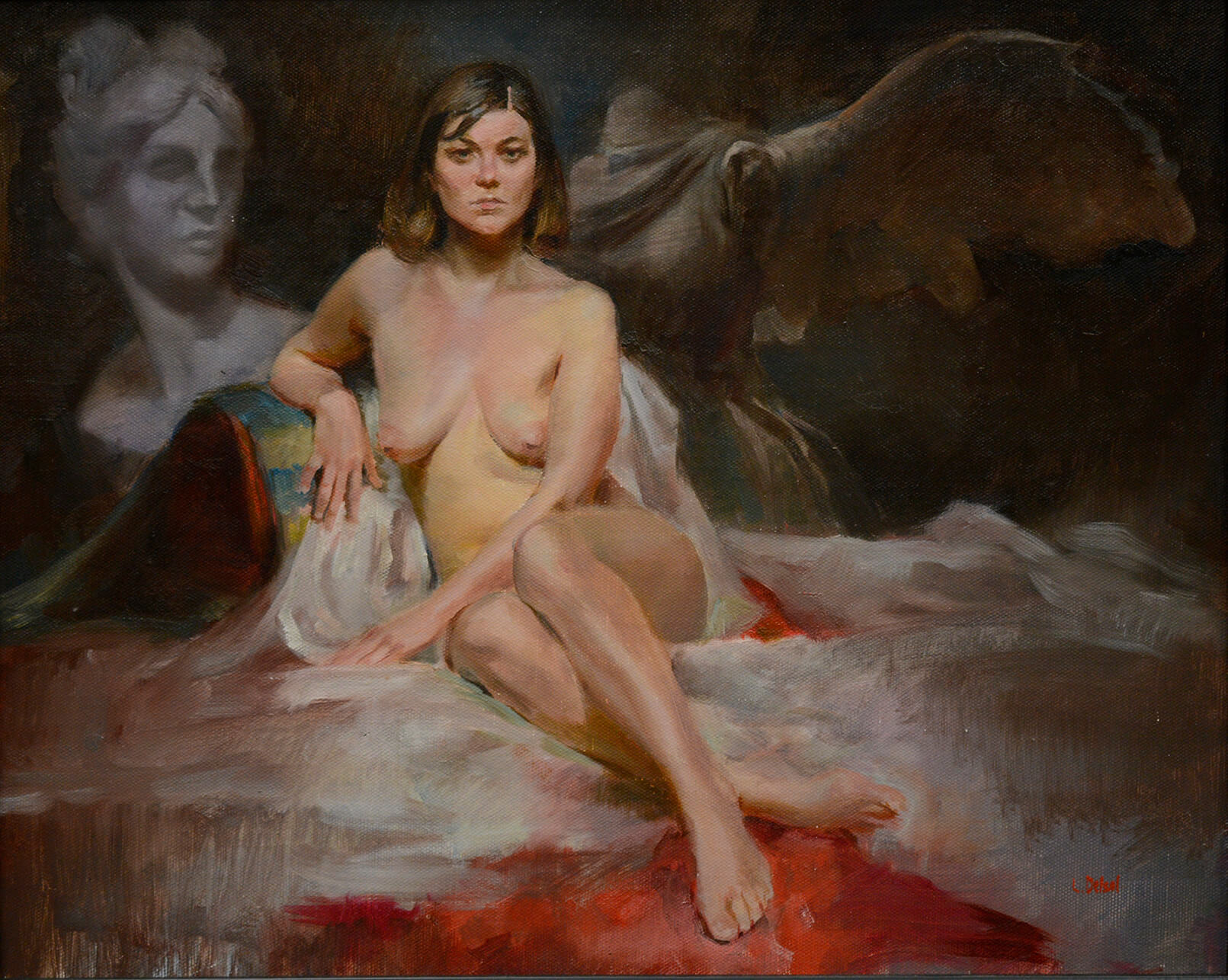 Realistic figurative painting of seated nude woman gazing directly at us background with fantasy sculptures