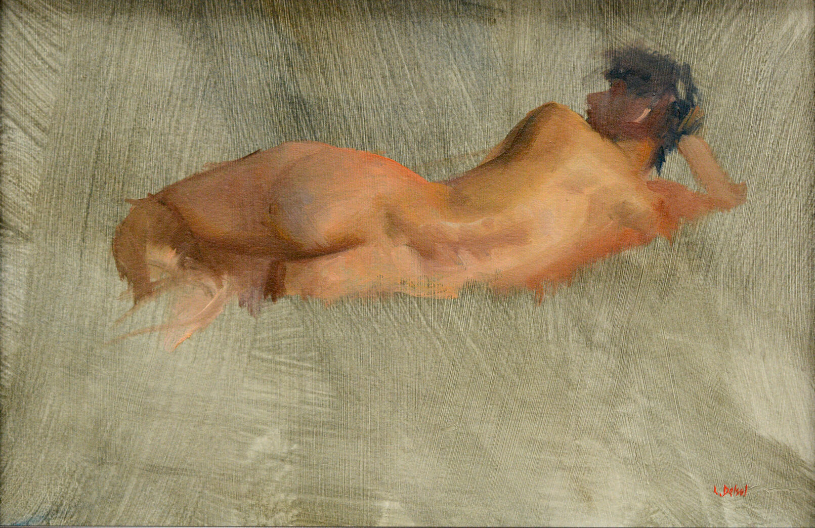 Gestural figurative oil painting of reclining nude woman from the back on lively brush stroked background