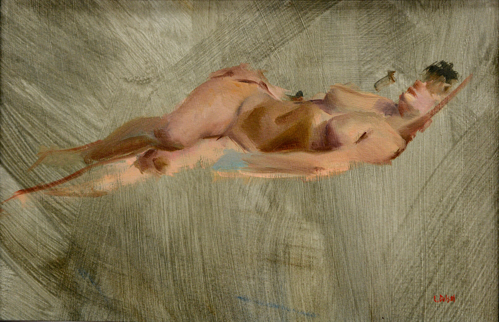 Gestural figurative oil painting of reclining nude woman in profile on lively brush stroked background