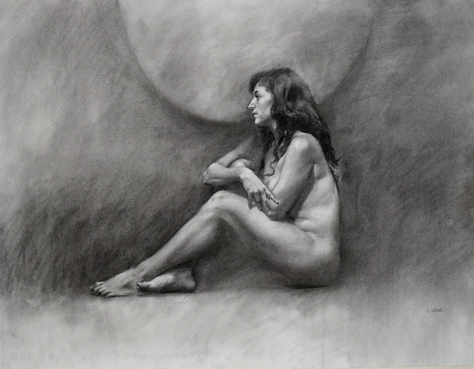 Realistic charcoal portrait of a nude woman sitting in profile with her arms crossed
