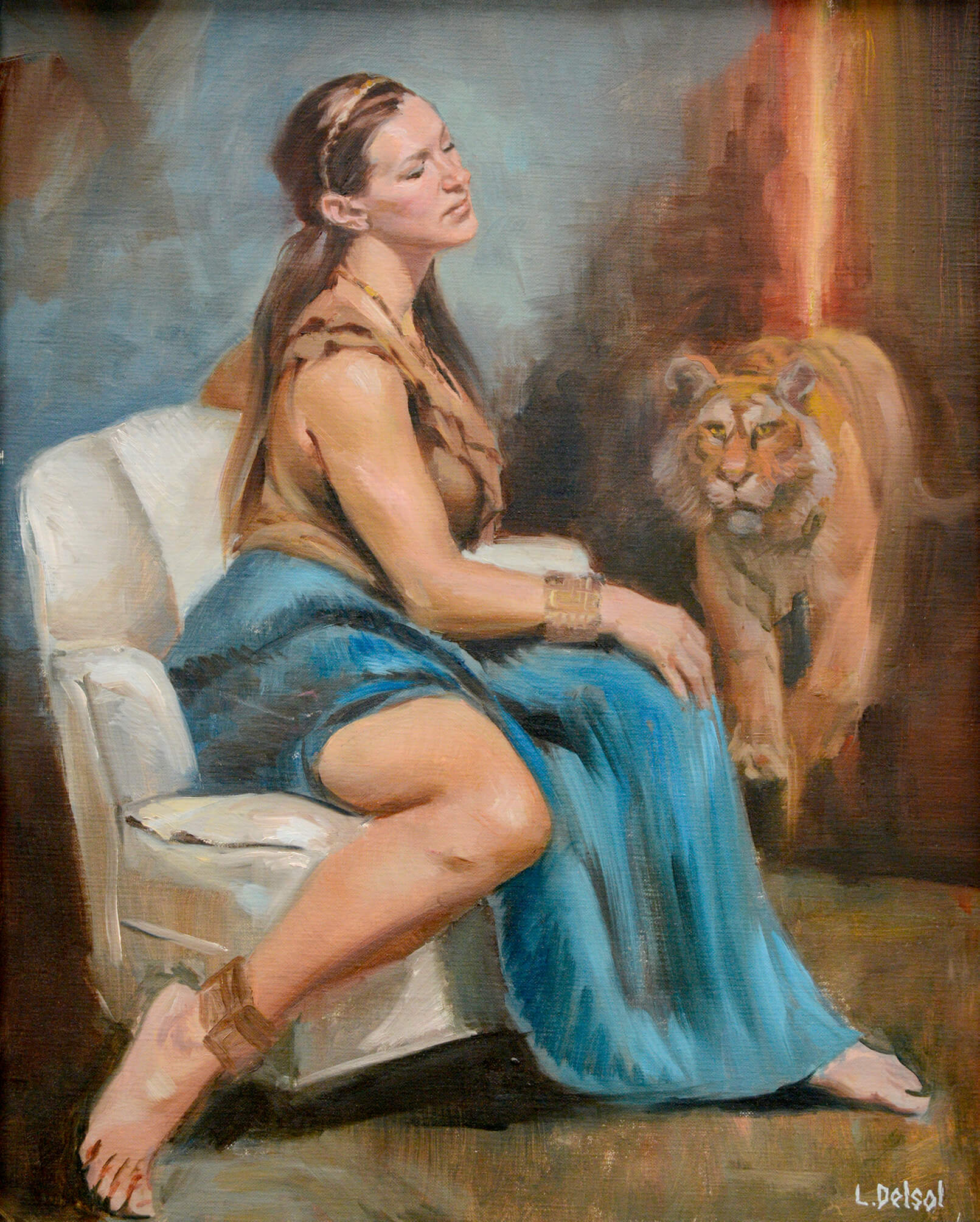 Realistic full figure oil portrait of a young woman with long blonde hair in 3/4 profile gazing off into the room as a tiger approaches