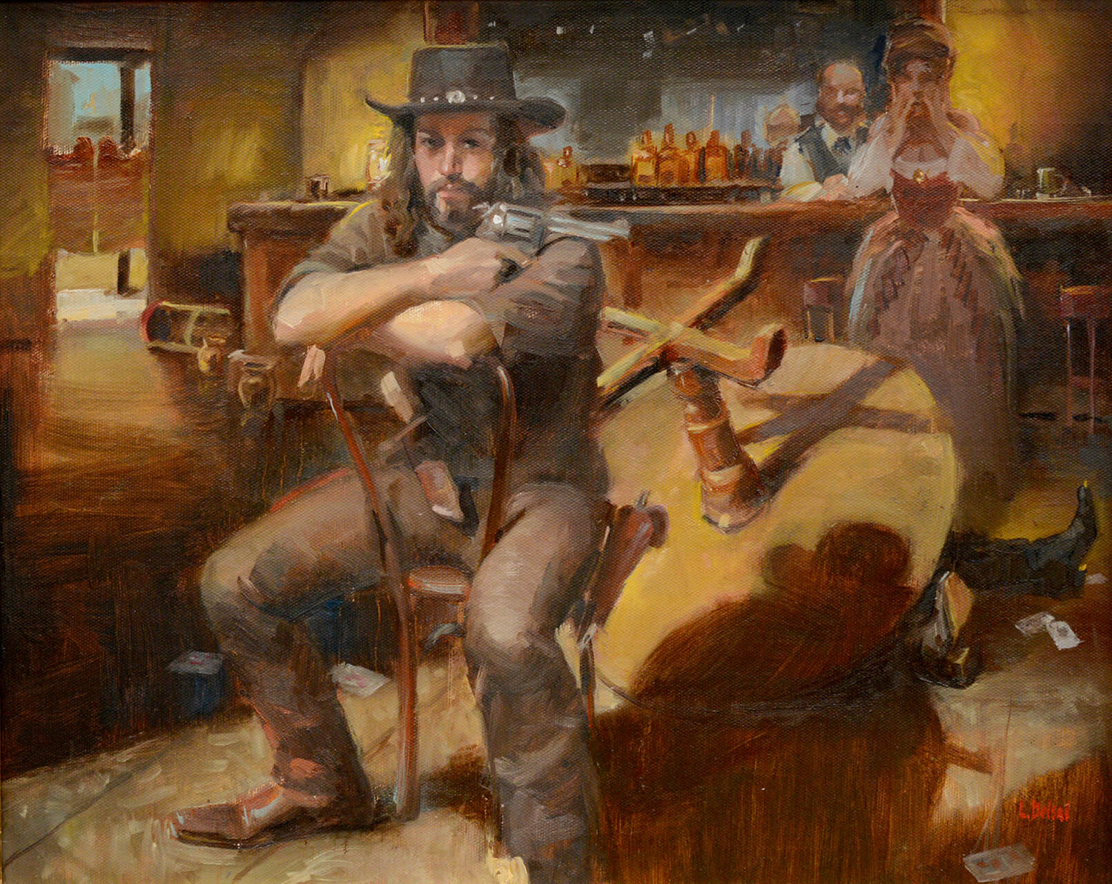 Realistic western themed oil painting of a gunslinger that just killed a guy over a card game with a barmaid and bartender in the background
