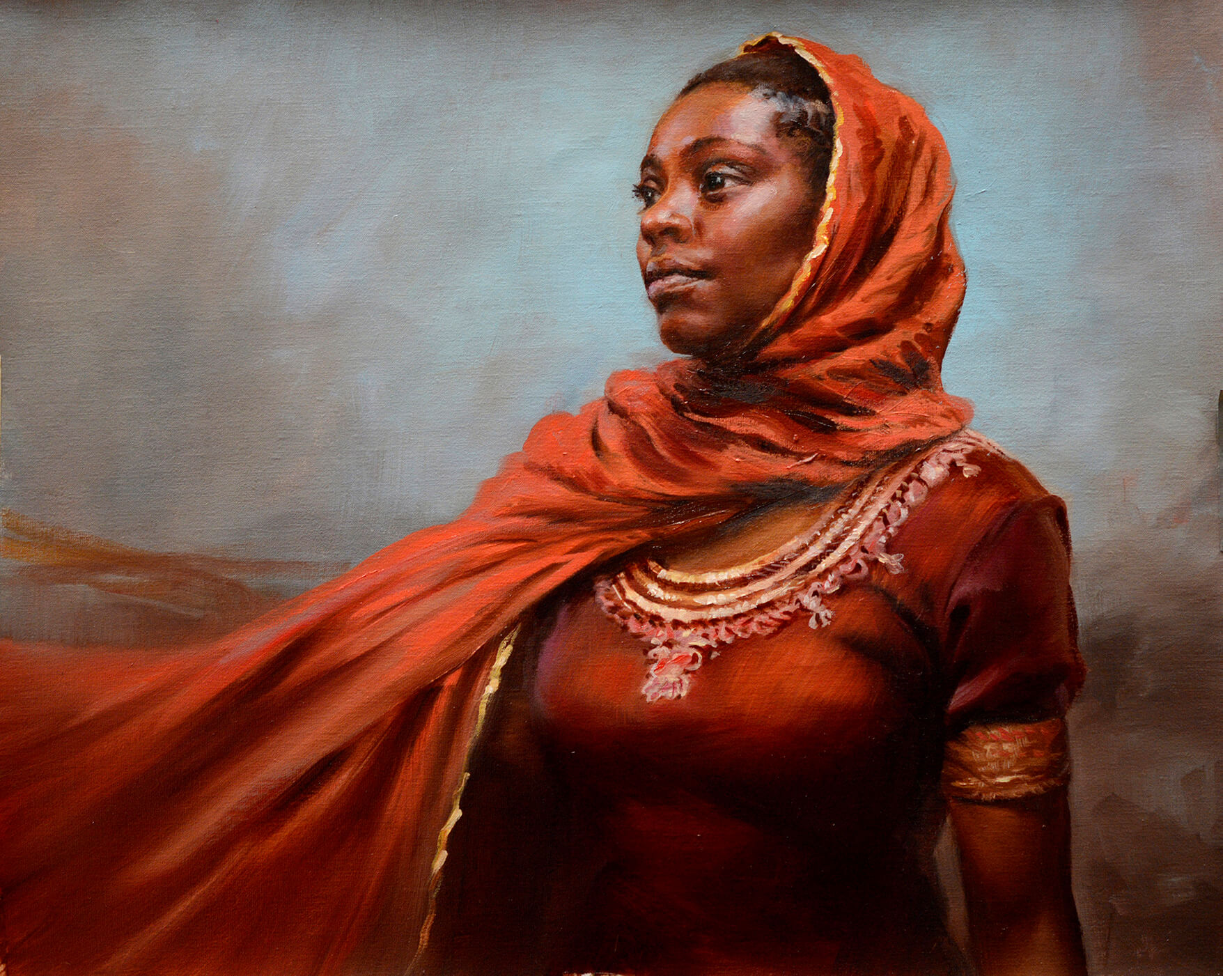 Oil portrait of a young black woman wearing an orange gold limned scarf