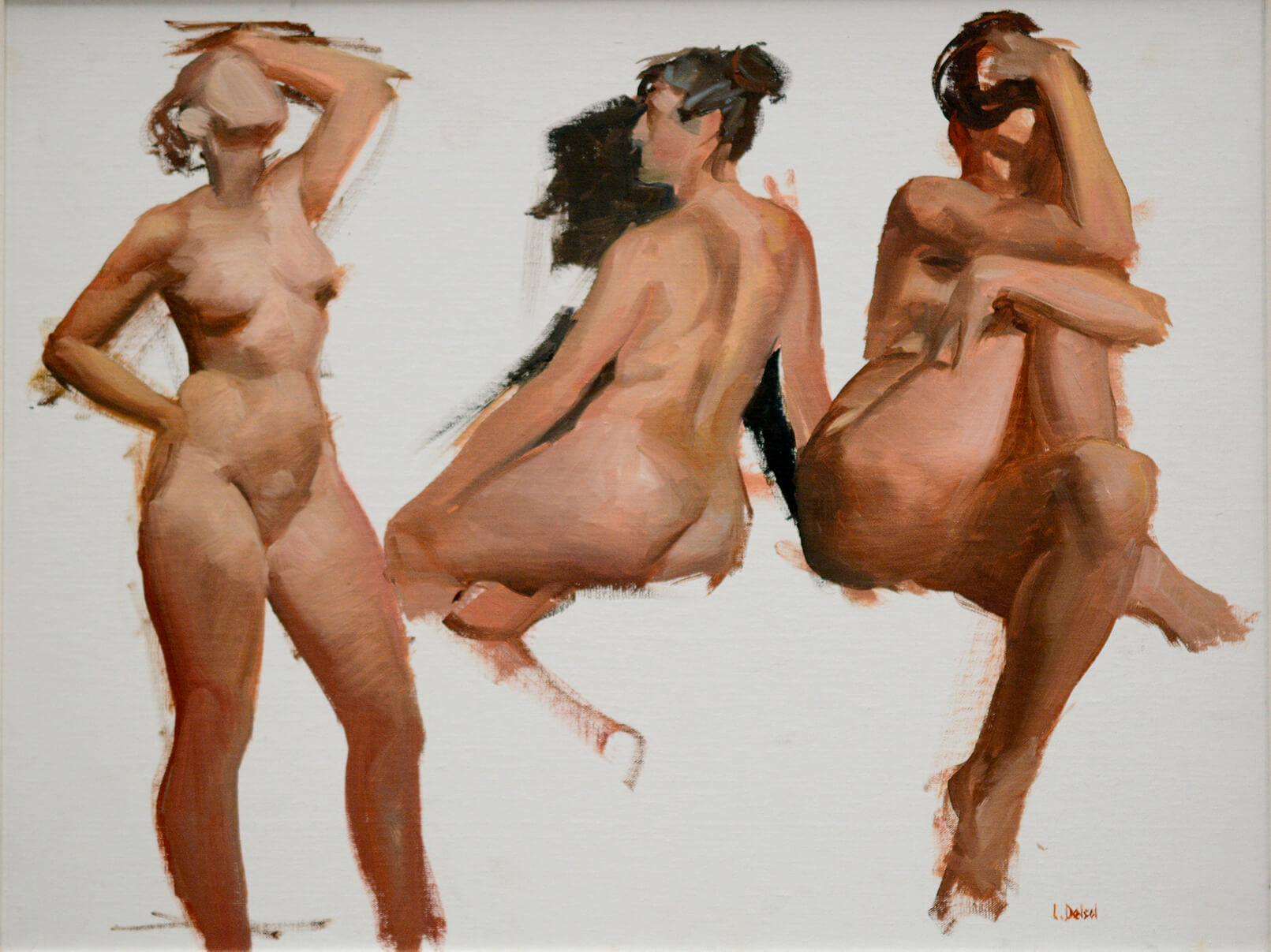 Gestural figurative oil study of three nude women on a white background