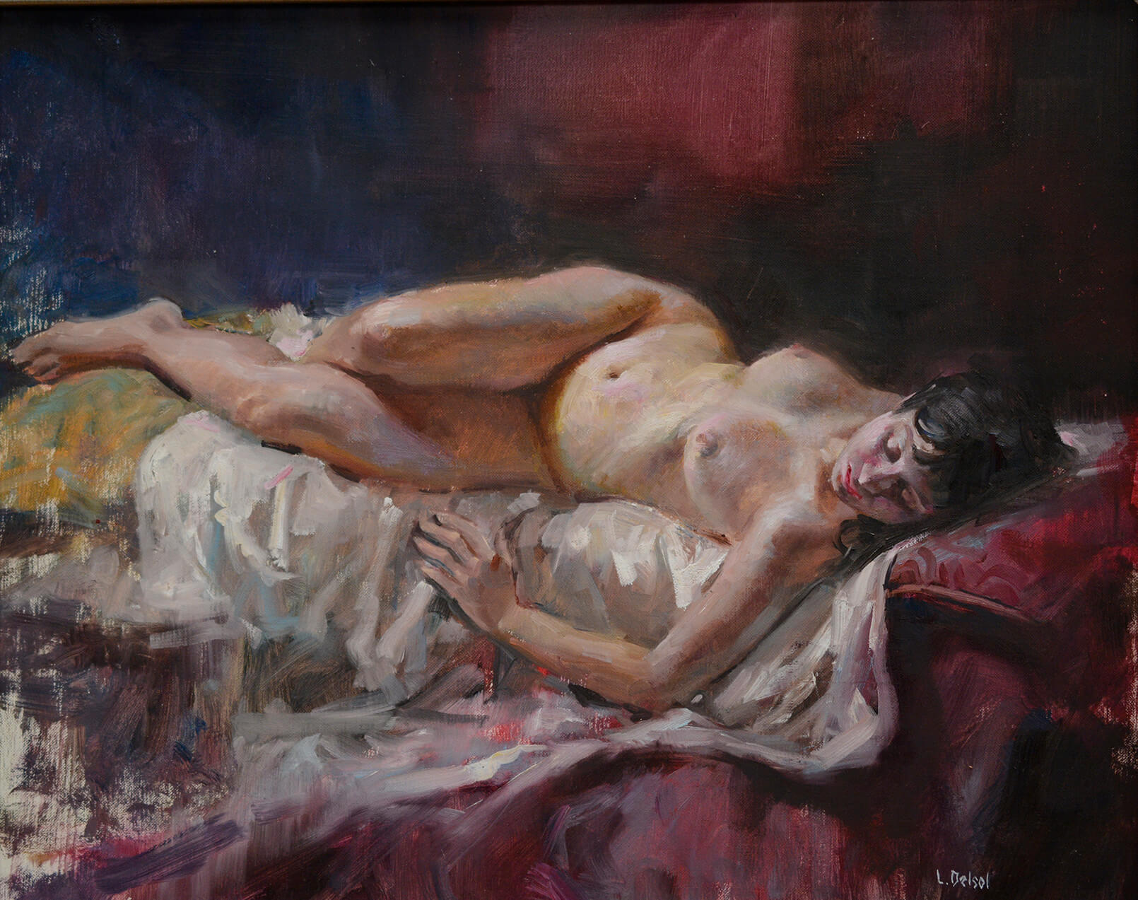 Realistic figurative oil painting of a nude reclining woman in a foreshortened pose