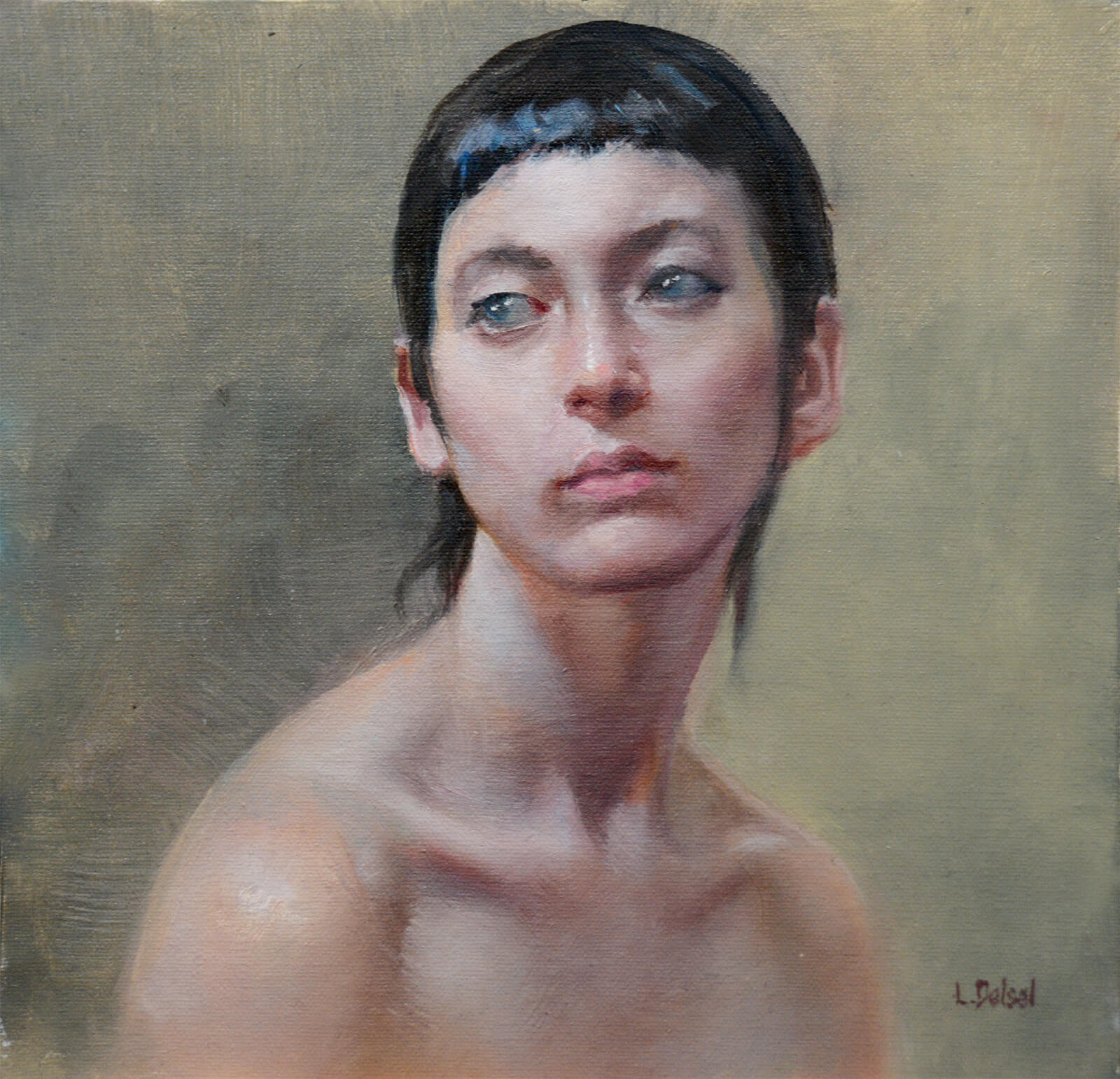 Portrait of a woman with black hair and bare shoulders gazing left