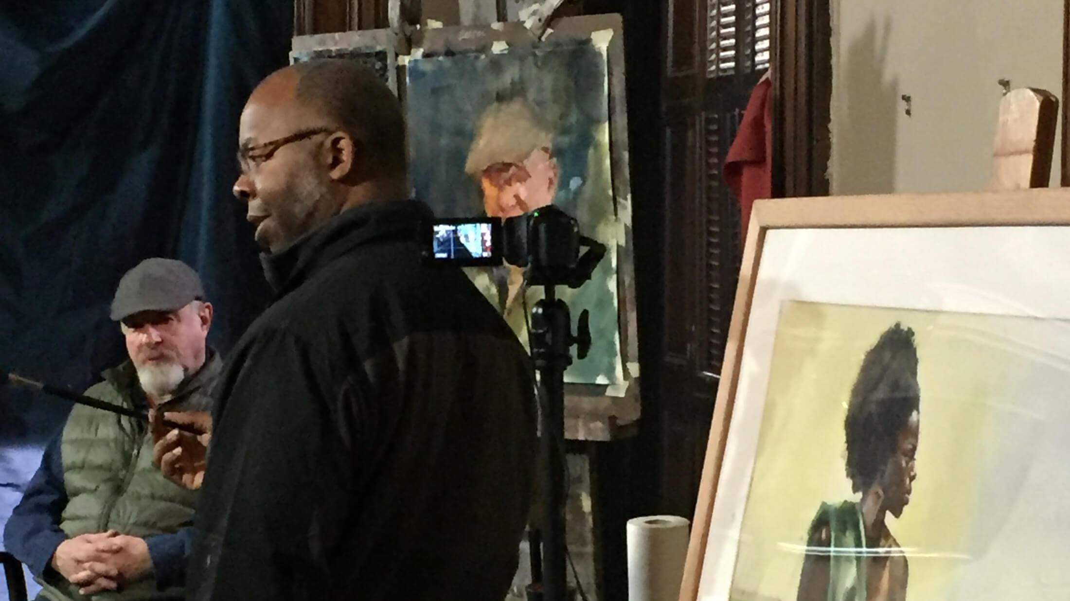 Artist Lenin Delsol teaching a portrait painting class