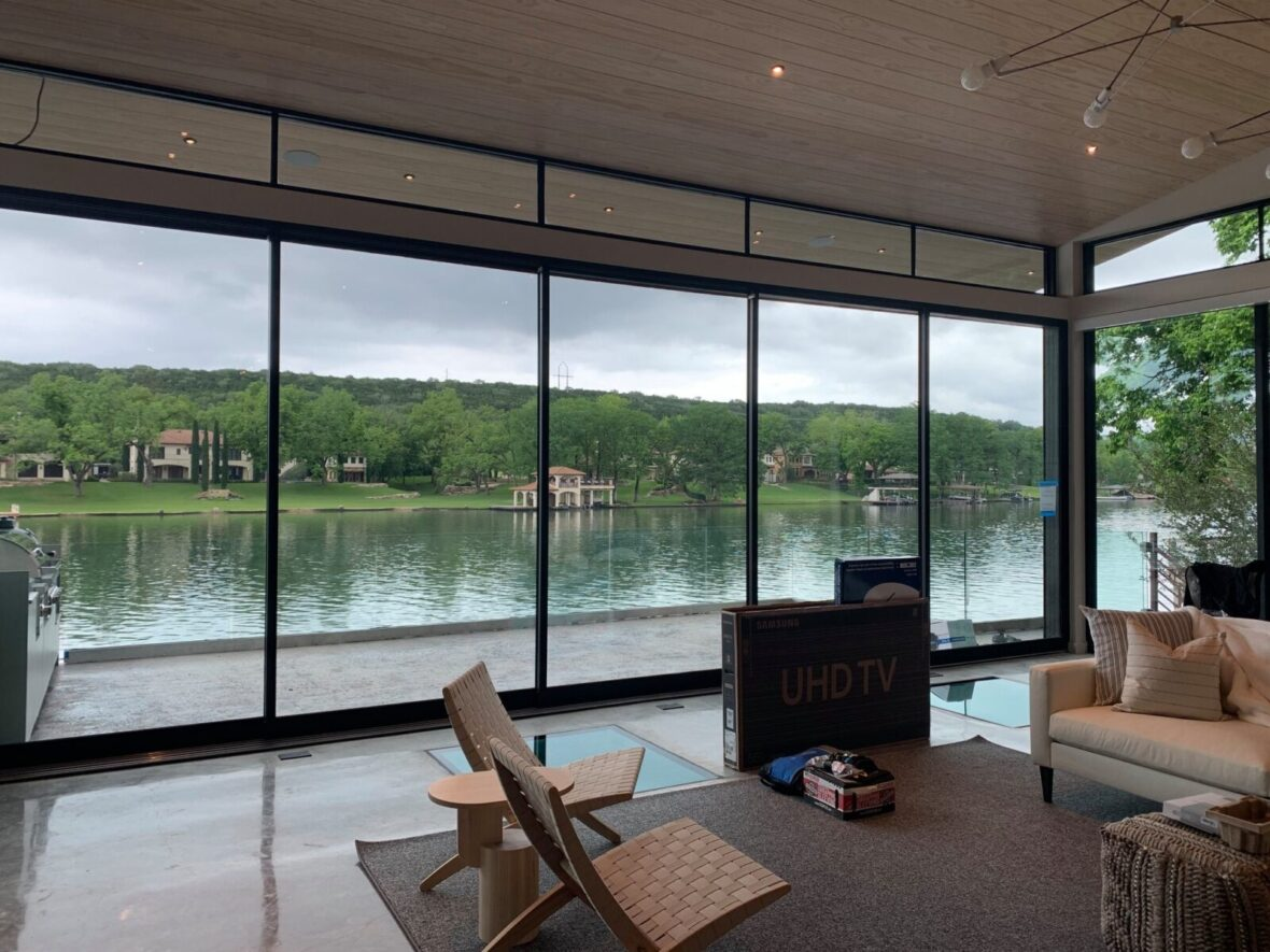 Large glass windows motorized shade control, home smart system shade control