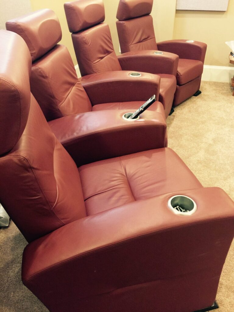 Red leather home theater seating