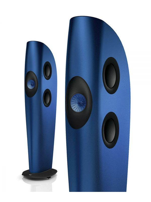 KEF blade frosted blue speakers