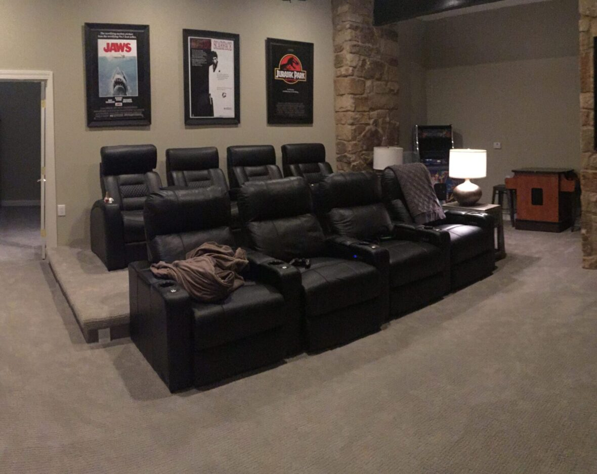 Home theater leather seating