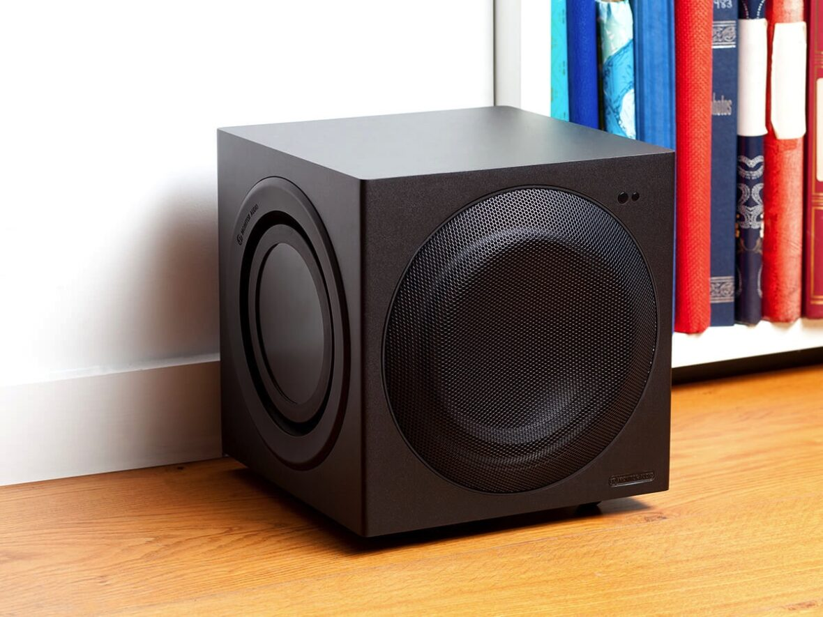 Monitor Audio subwoofer on home media floor