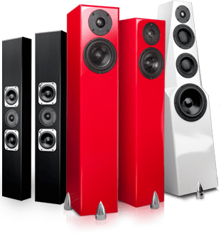 Totem home sound system with loudspeakers home speakers, home audio, and outdoor rock speakers