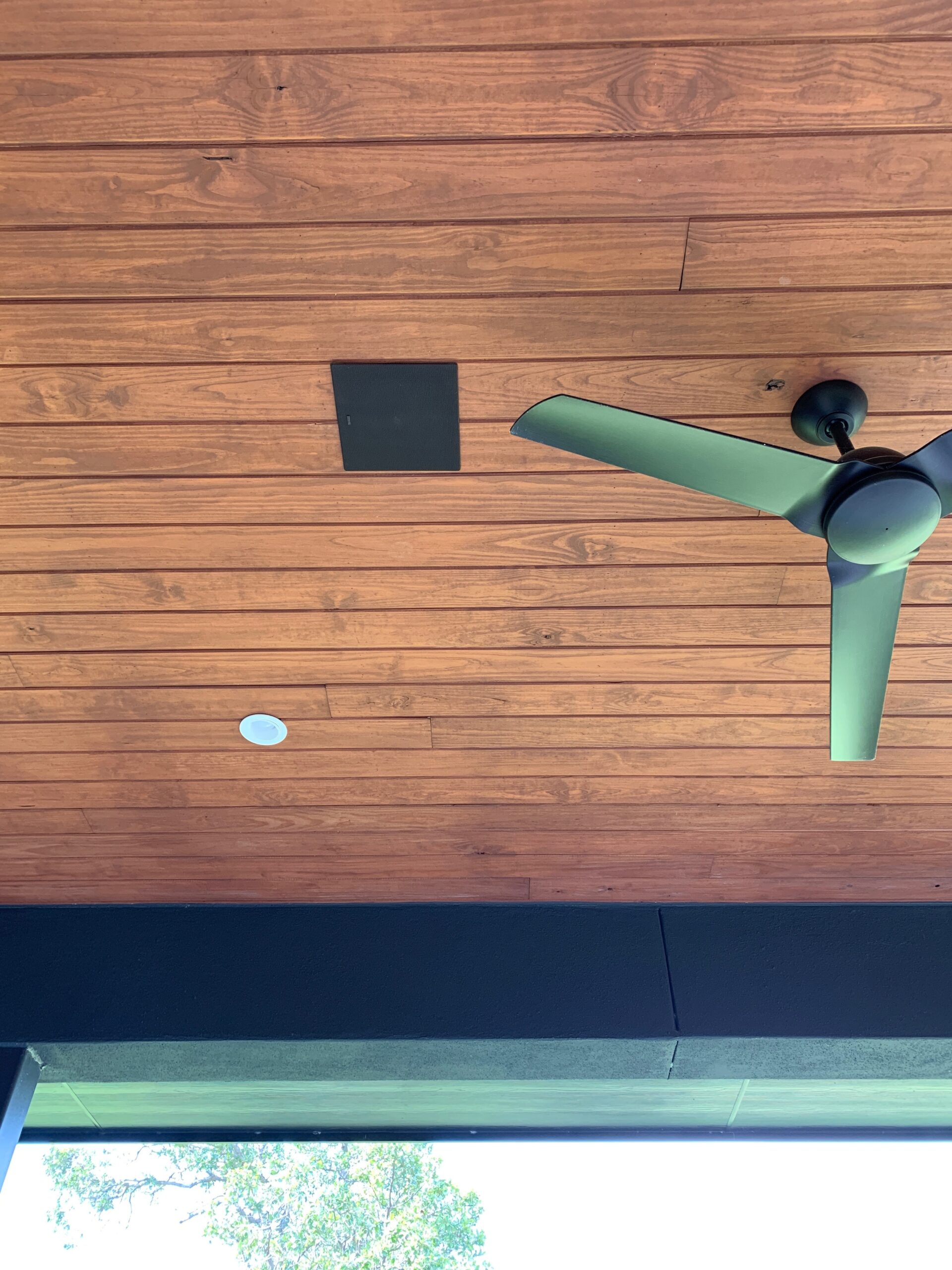 In-ceiling outdoor home speakers controlled with smart system automation