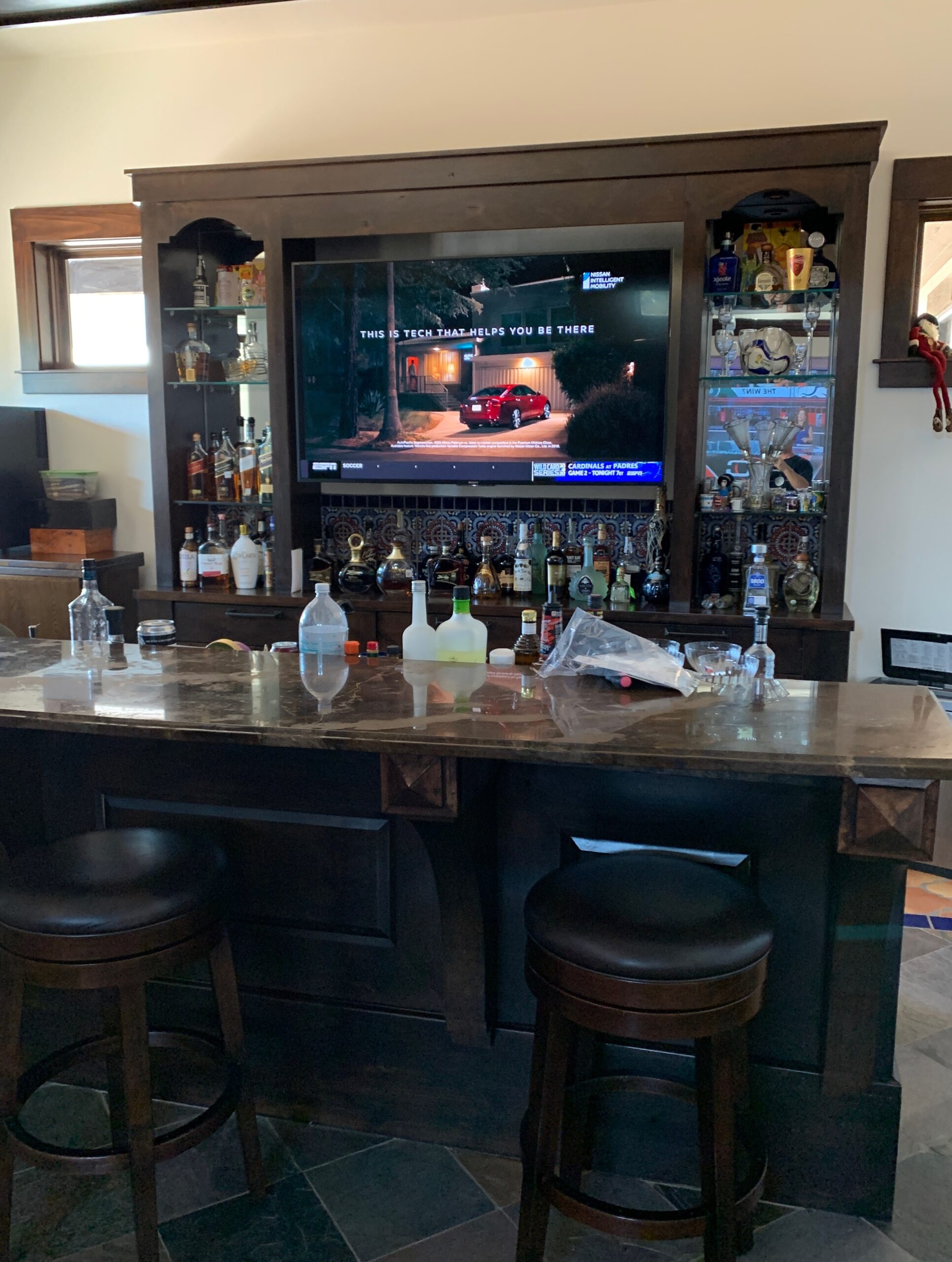 Home bar TV install and surround sound system