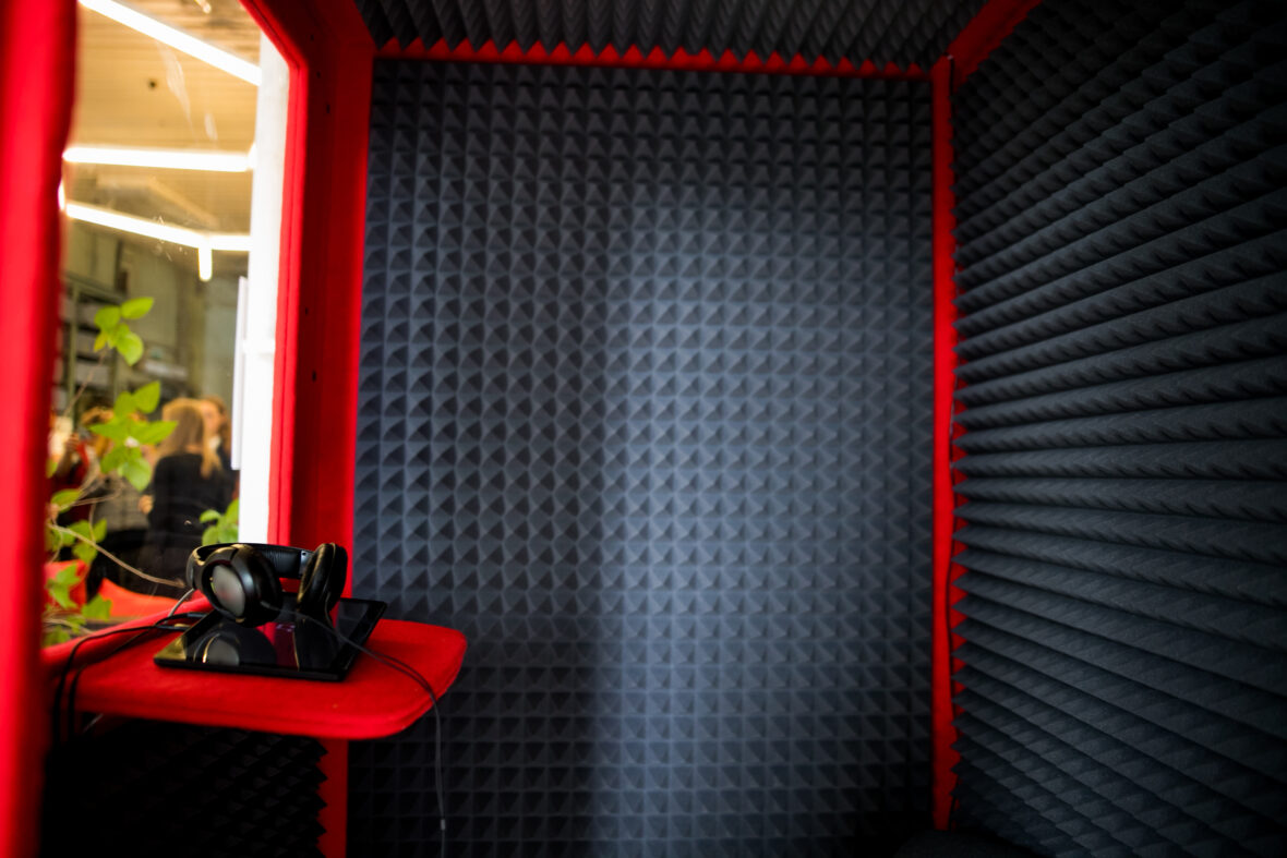 Home Theater Acoustic walls close up Sound Absorption, noise reduction texture in recorder room ,with light flare.